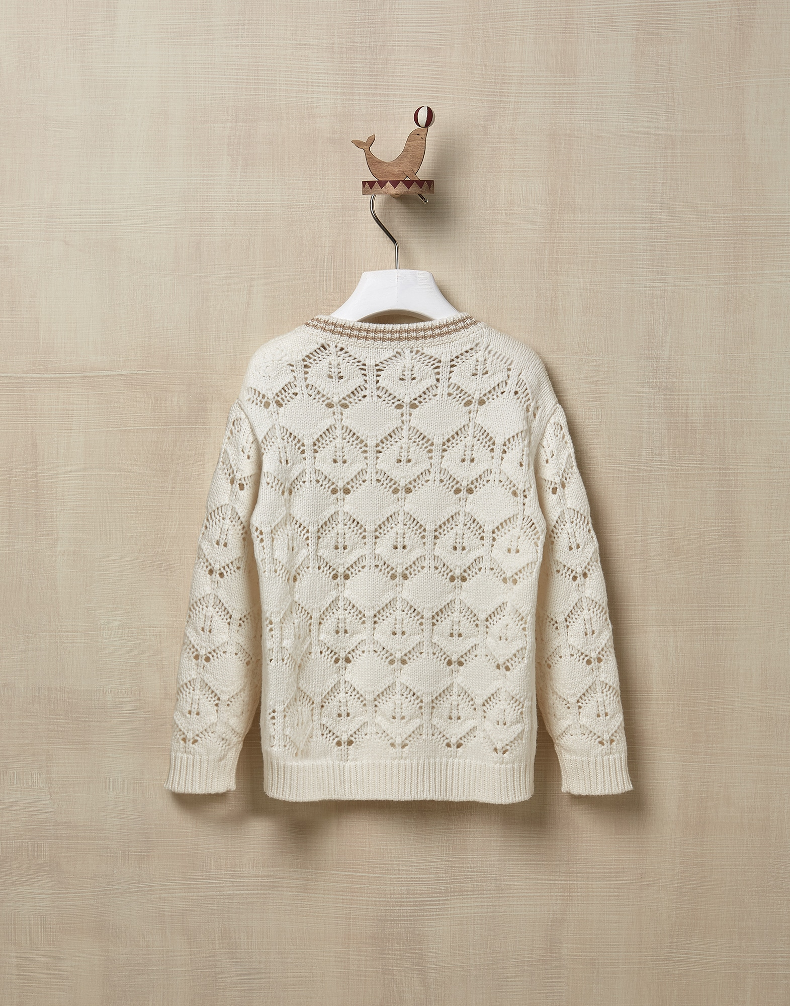 Crewneck Sweater Ecru Girl 1 - Brunello Cucinelli