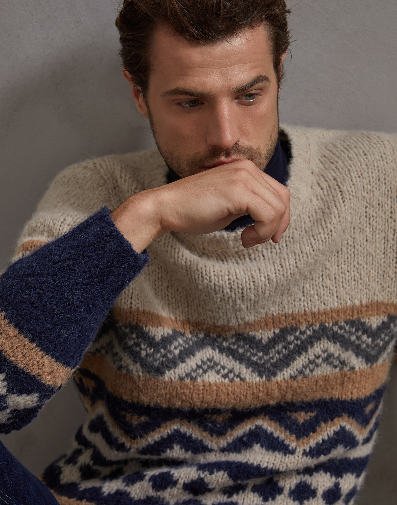 Crewneck Sweater Sand Man 0 - Brunello Cucinelli