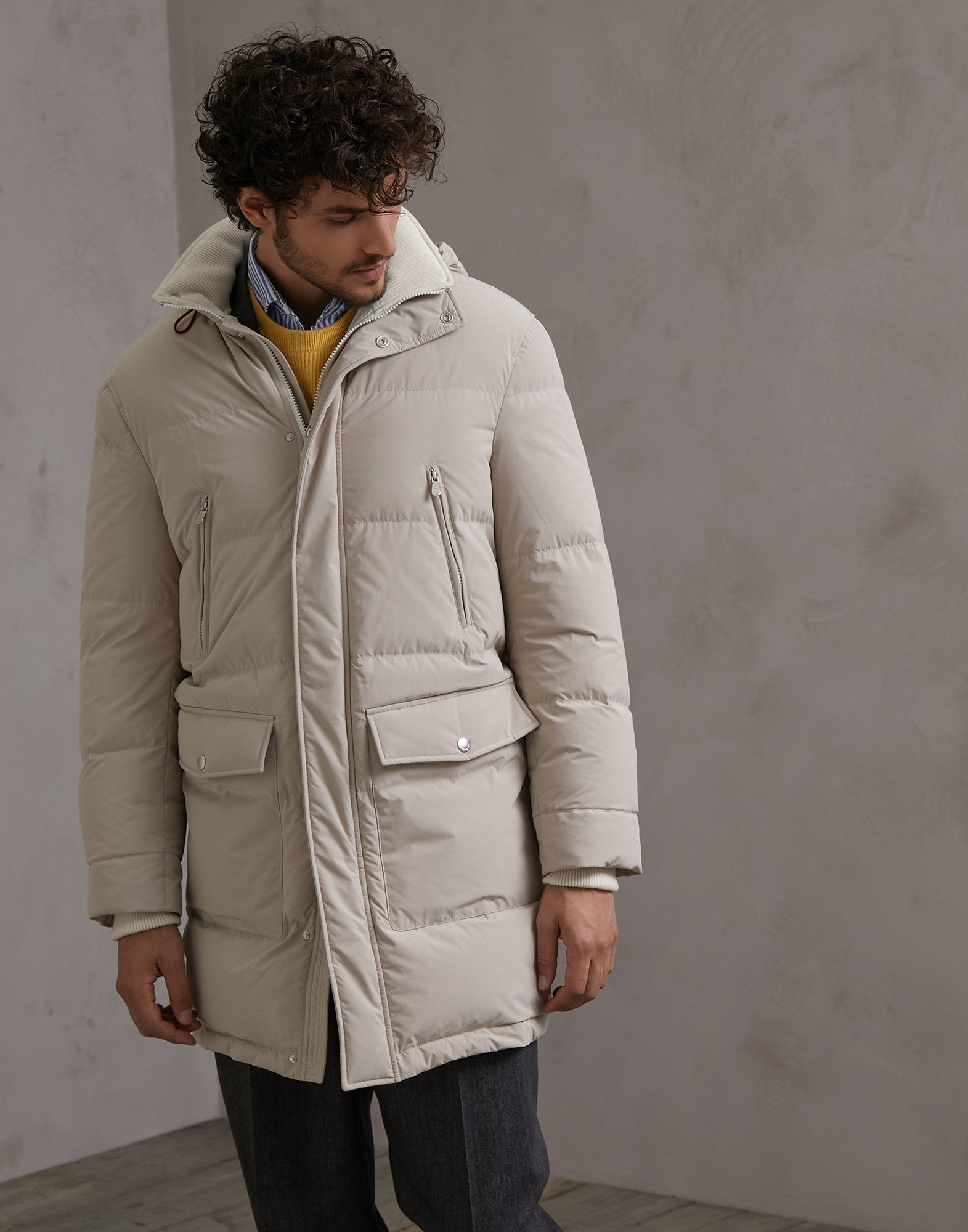 Down Jacket Beige Man 1 - Brunello Cucinelli