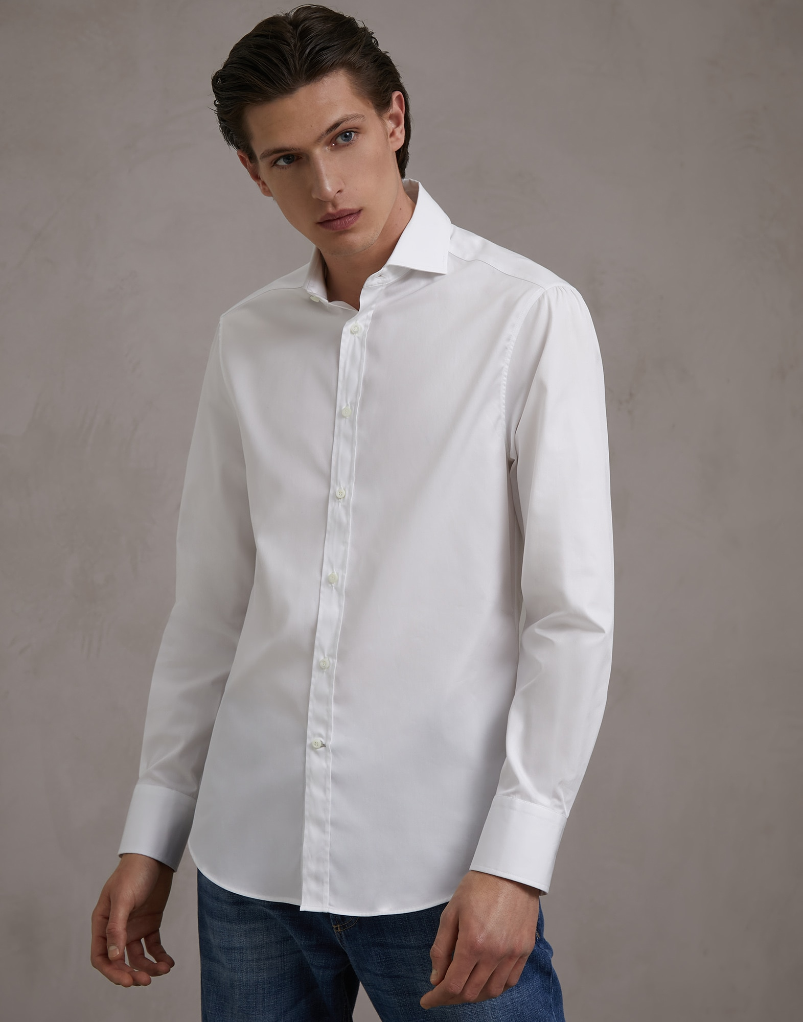 French Collar Shirt White Man 1 - Brunello Cucinelli