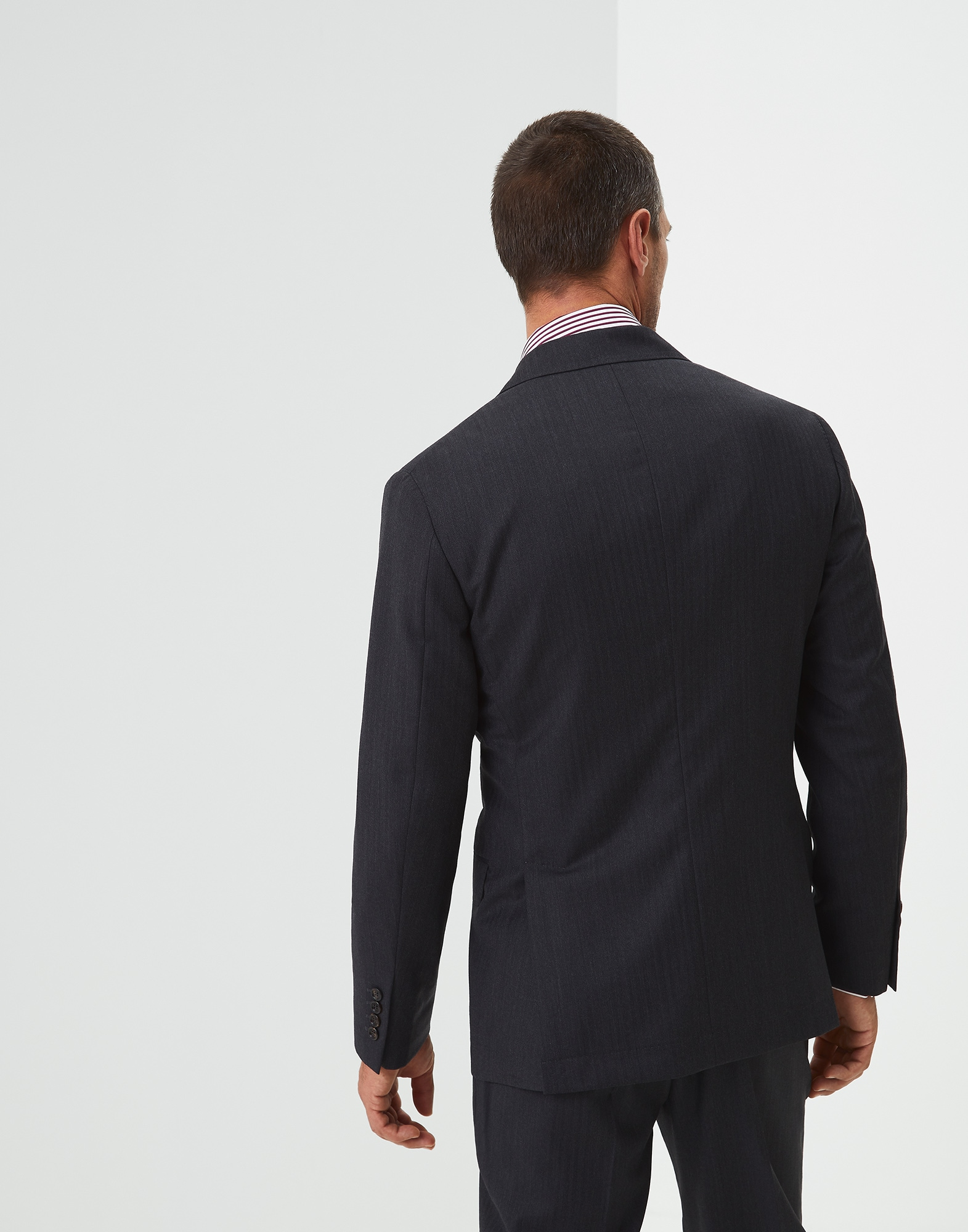 Single Breasted Blazer Anthracite Man 1 - Brunello Cucinelli