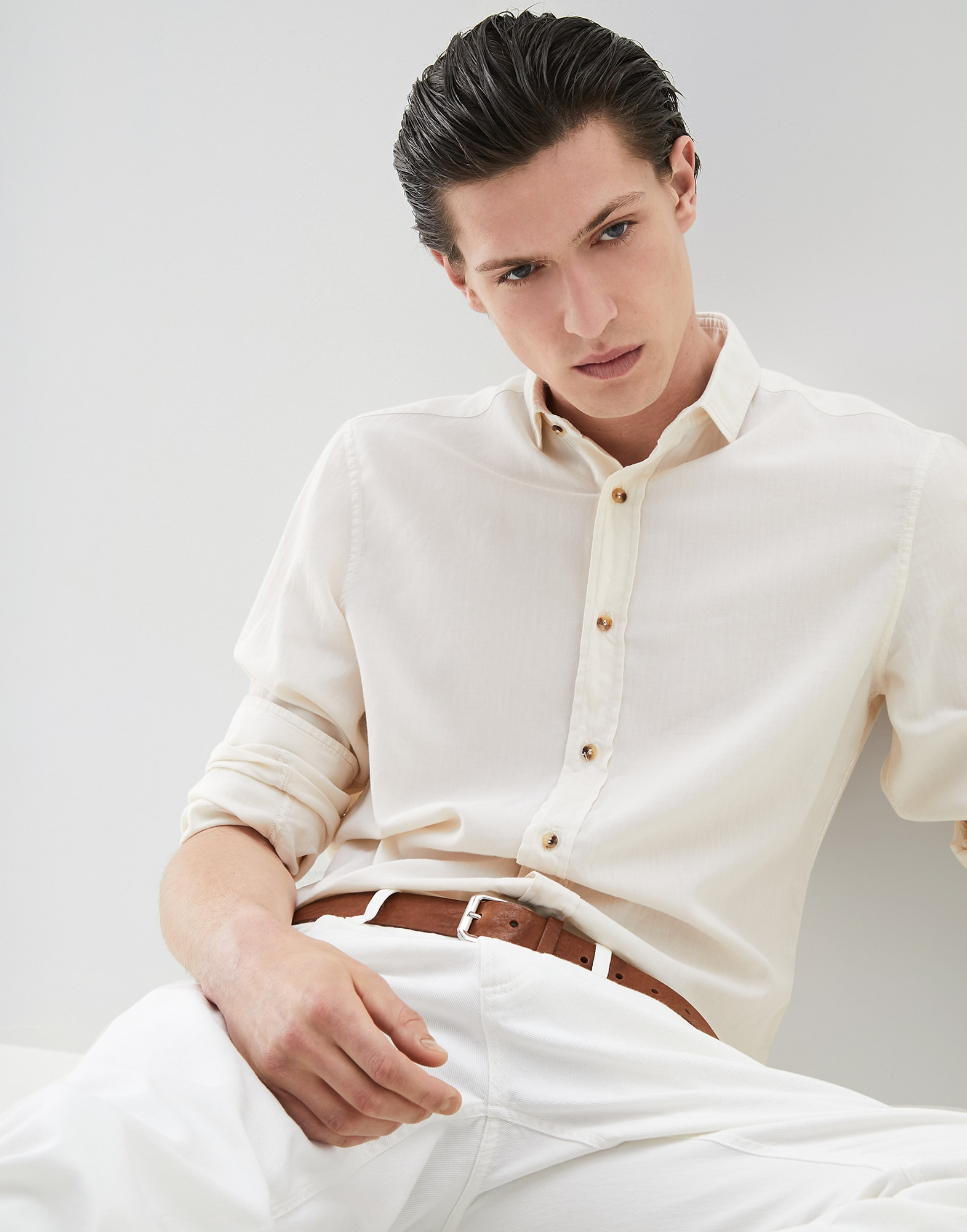 French Collar Shirt Off-White Man 0 - Brunello Cucinelli