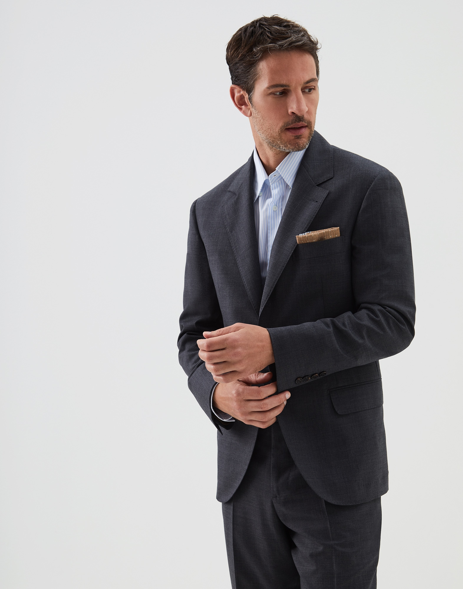 Single Breasted Blazer Dark Grey Man 0 - Brunello Cucinelli