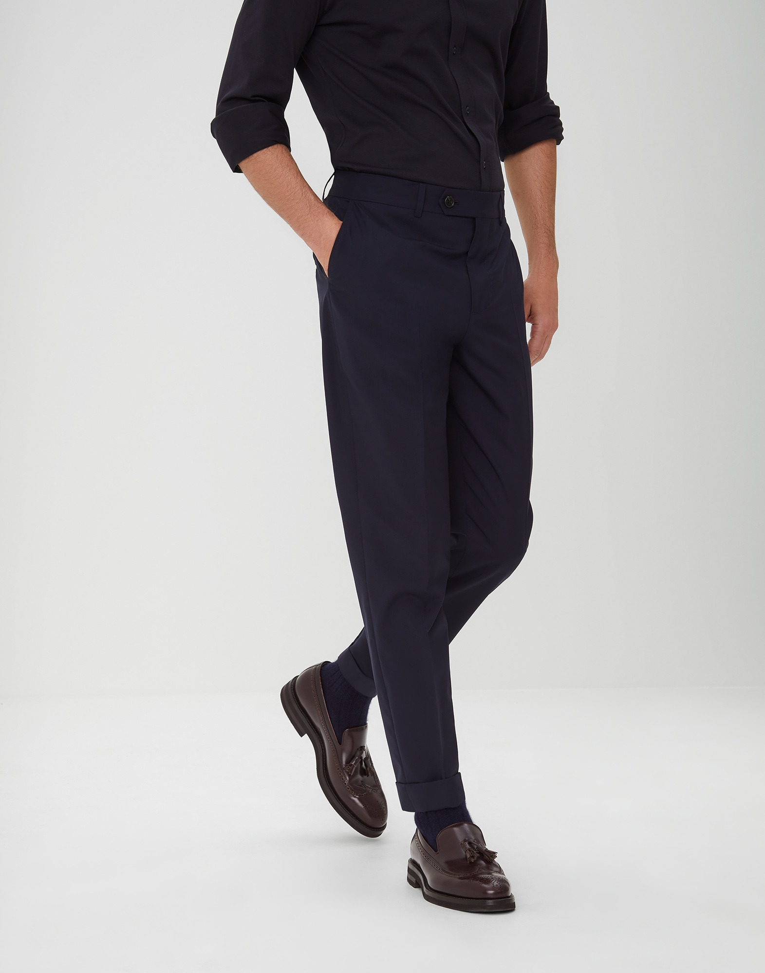 Trousers Navy Blue Man 0 - Brunello Cucinelli