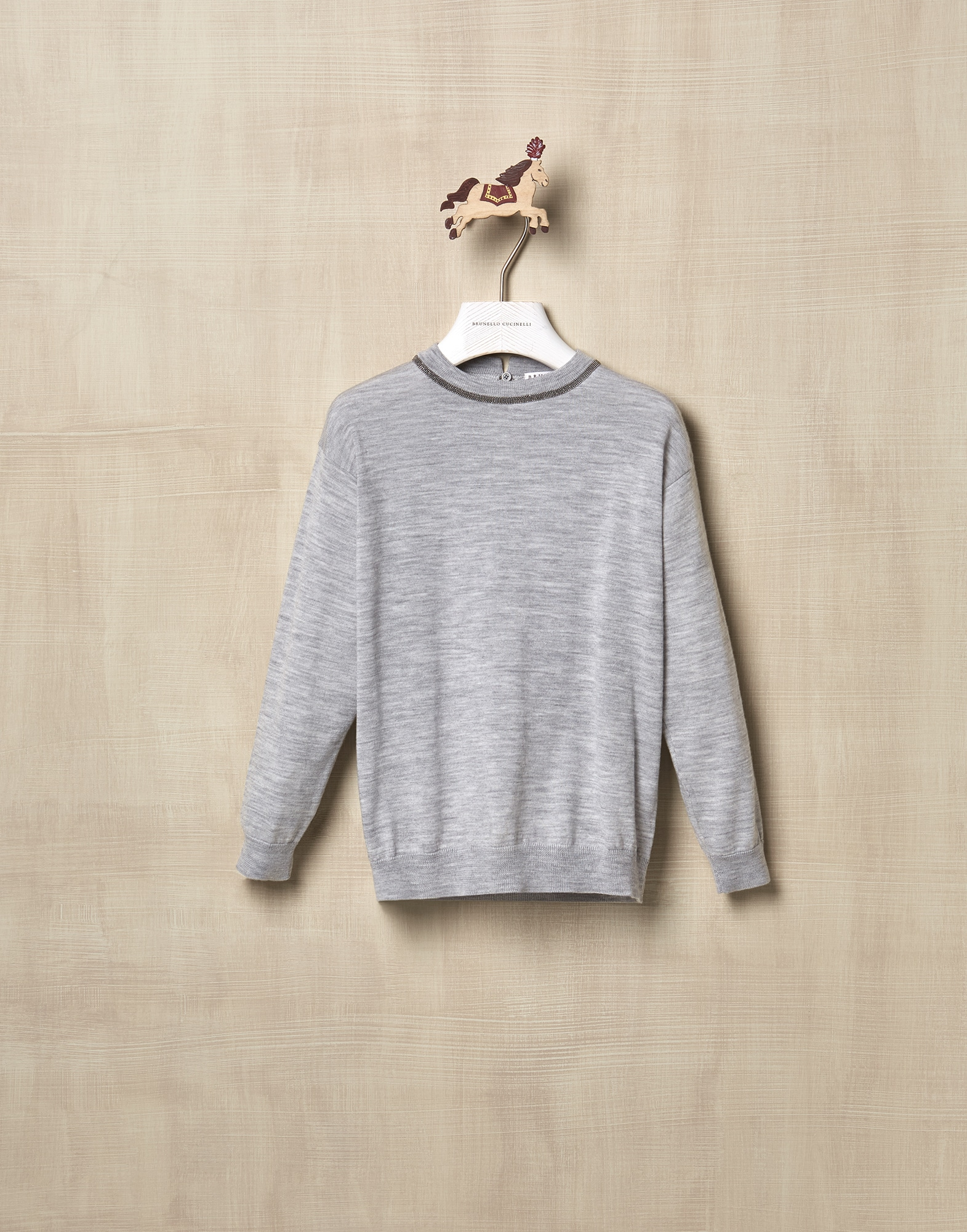 Crewneck Sweater Pebble Girl 0 - Brunello Cucinelli