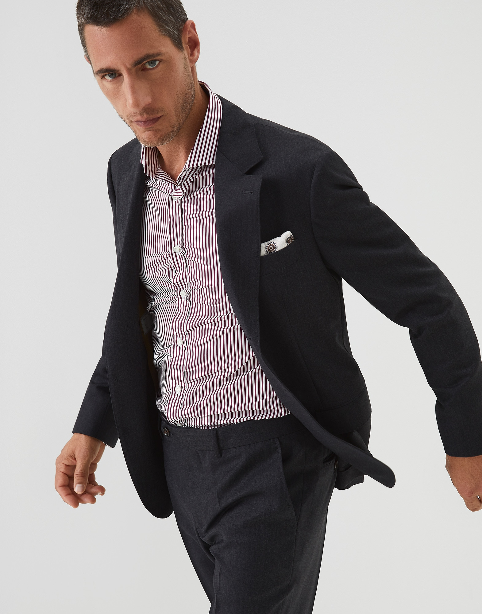 Single Breasted Blazer Anthracite Man 4 - Brunello Cucinelli
