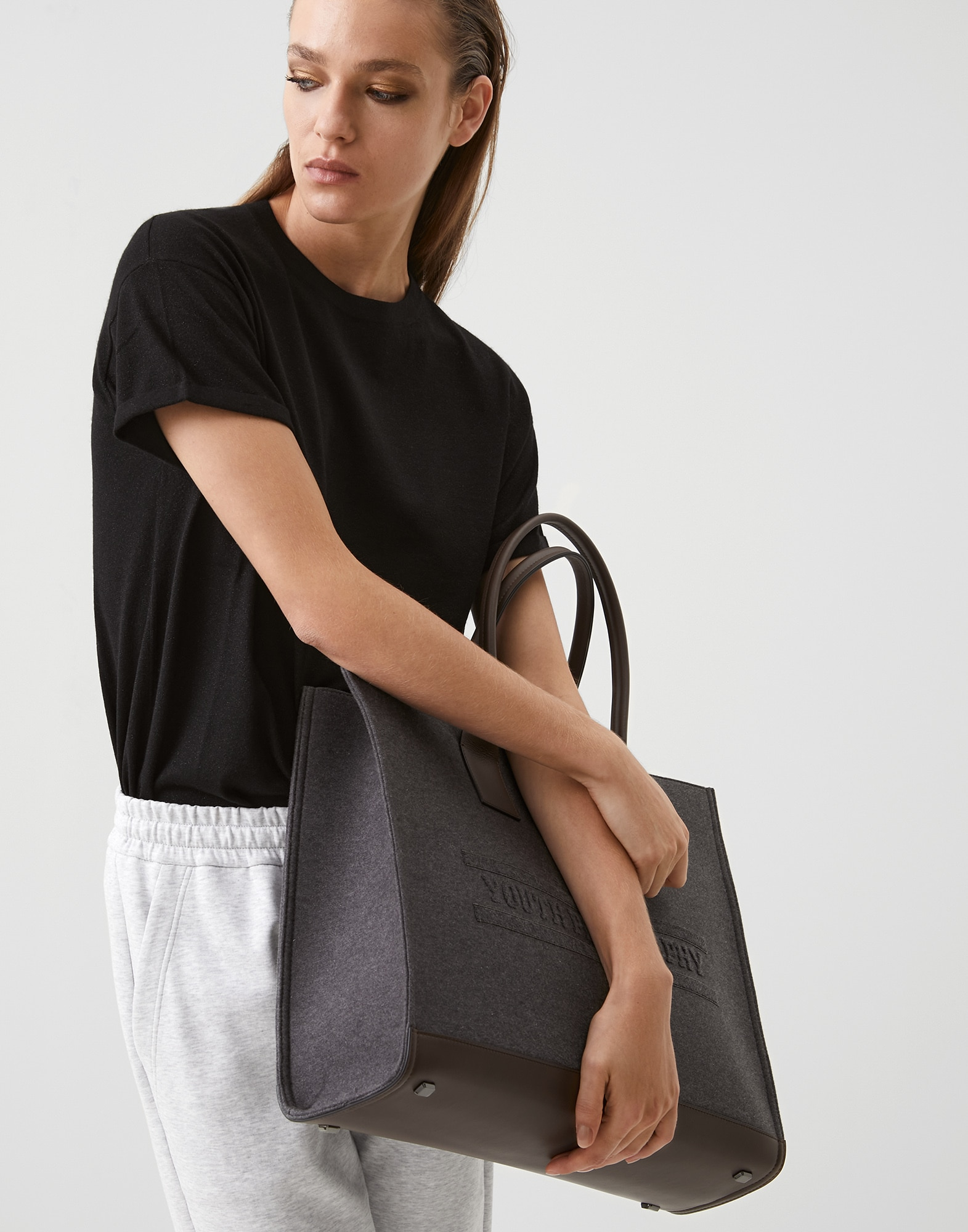 Shopper Bag Dark Grey Woman 4 - Brunello Cucinelli