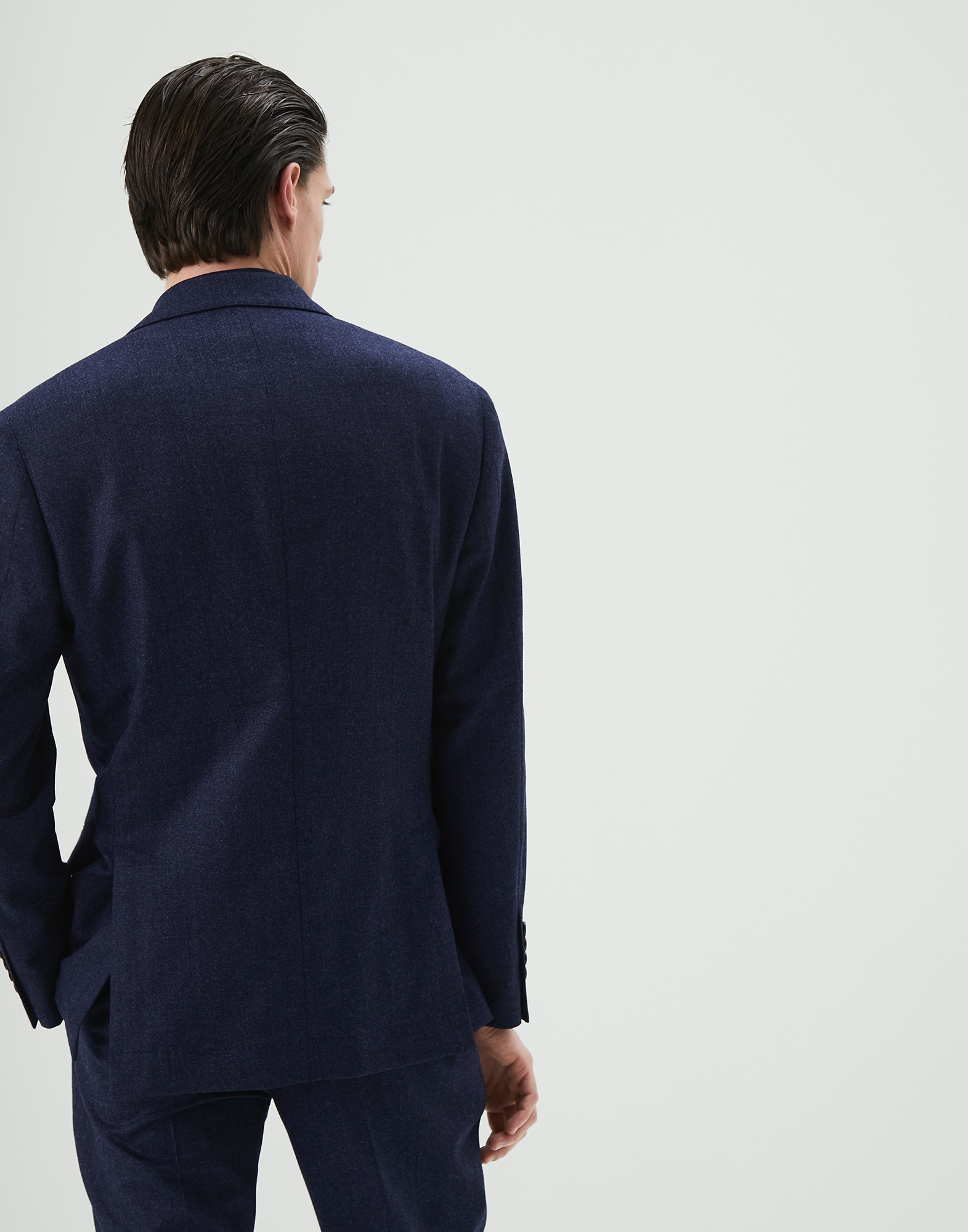 Single Breasted Blazer Marine Blue Man 1 - Brunello Cucinelli