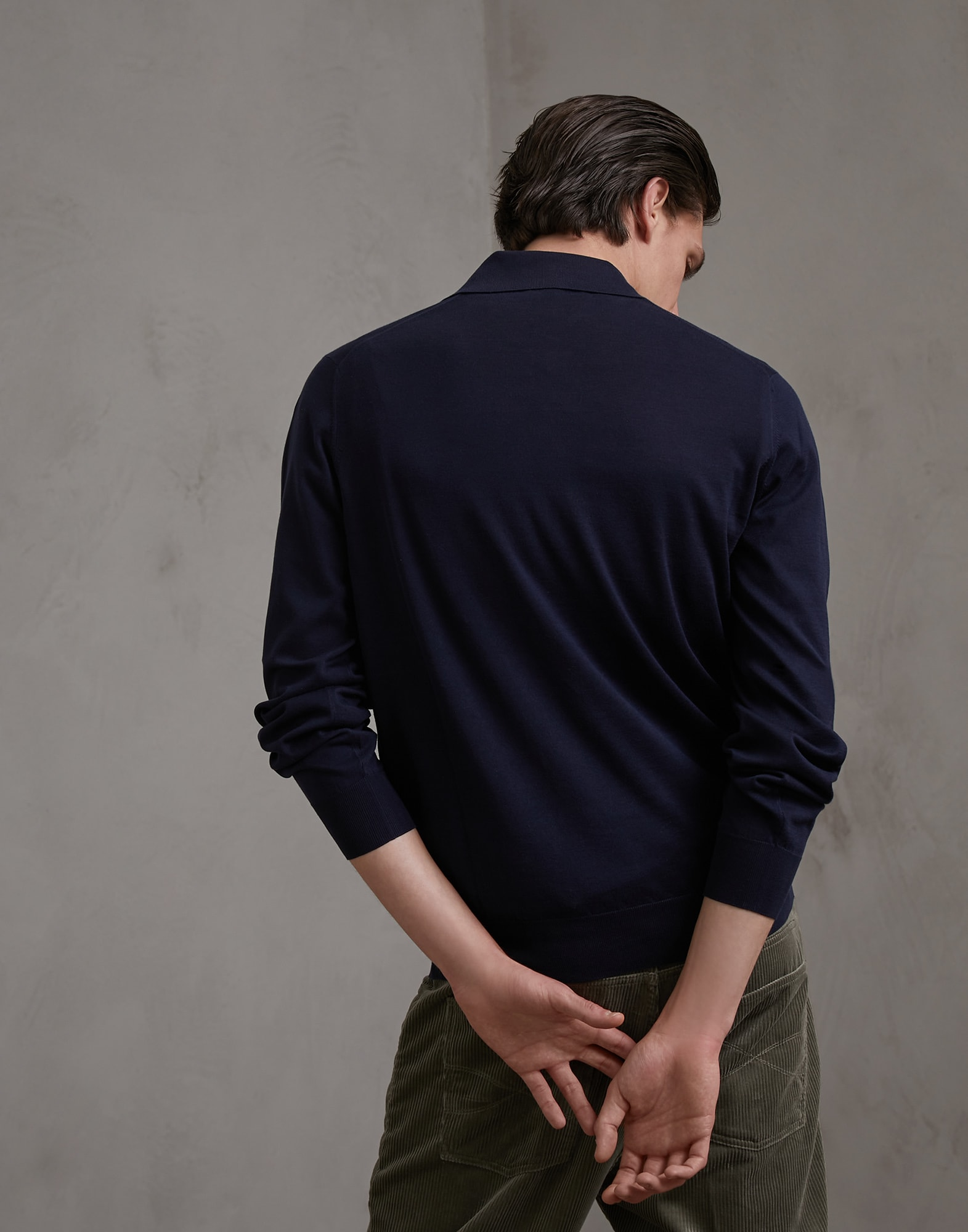 Polo-Style Sweater Navy Blue Man 2 - Brunello Cucinelli