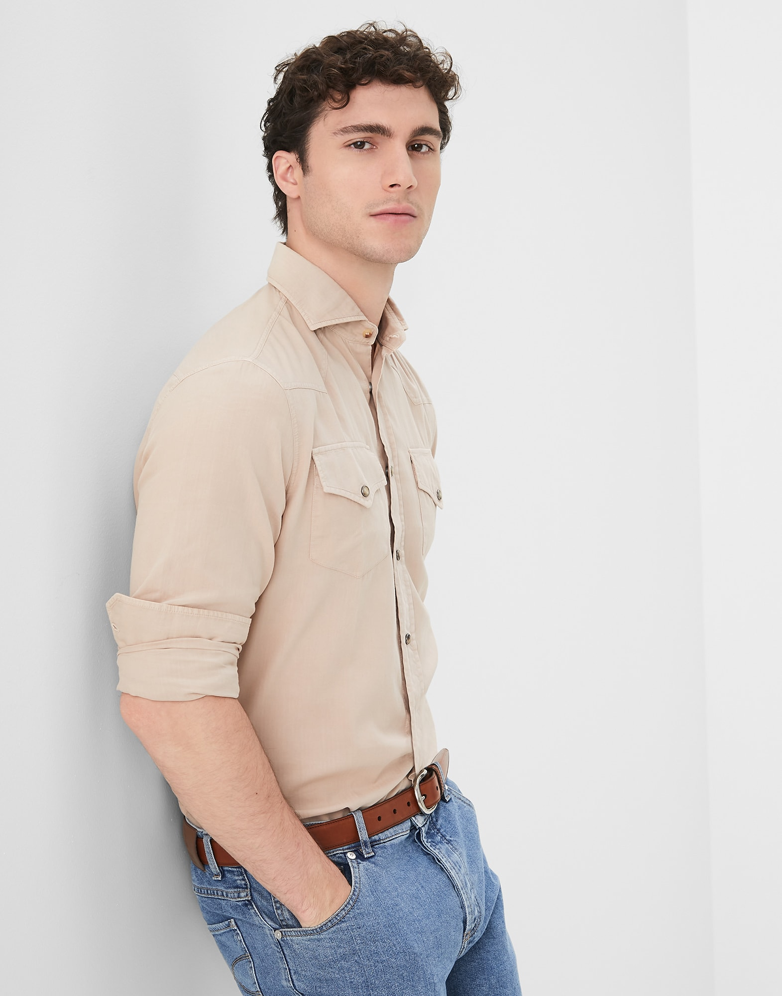 Casual Shirt Sand Man 0 - Brunello Cucinelli