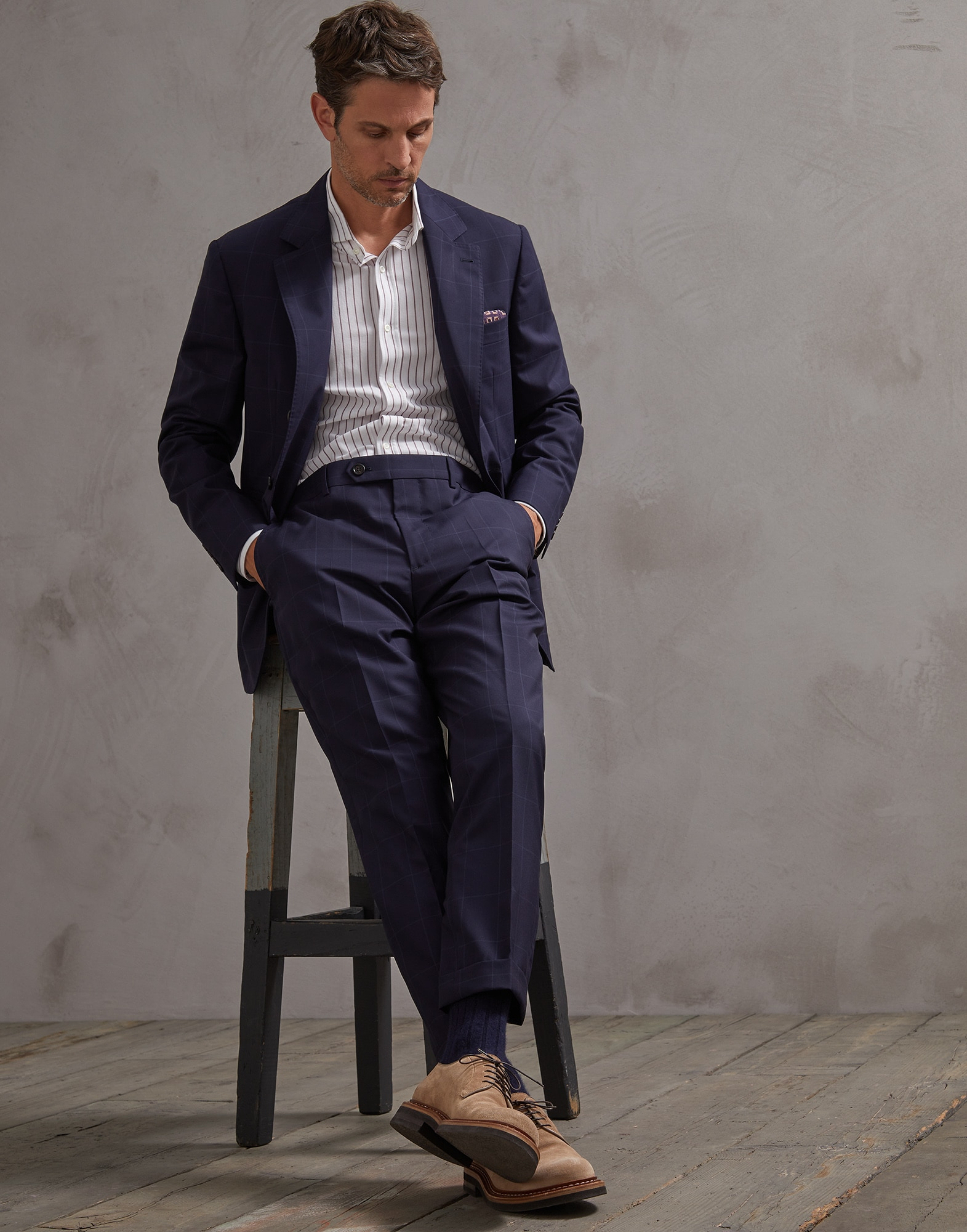 Trousers Navy Blue Man 3 - Brunello Cucinelli