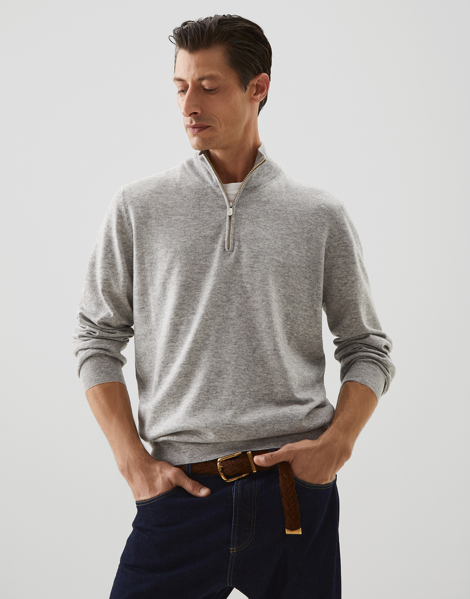 High Neck Sweater Pebble Man 1 - Brunello Cucinelli