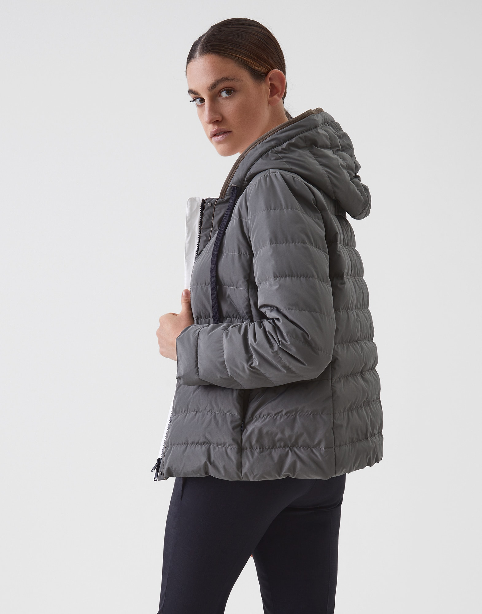 Down Jacket Olive Woman 1 - Brunello Cucinelli