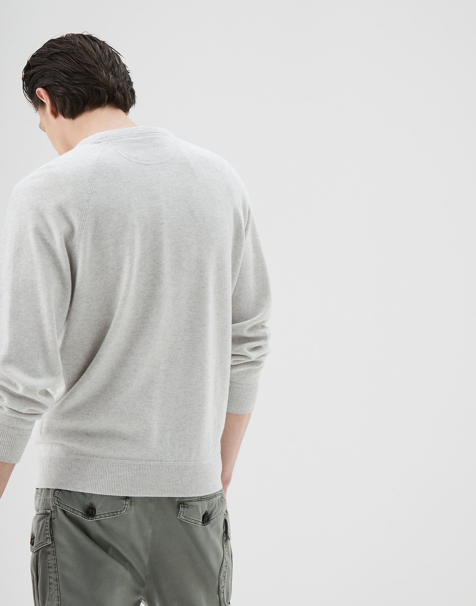 Crewneck Sweater Fog Man 1 - Brunello Cucinelli
