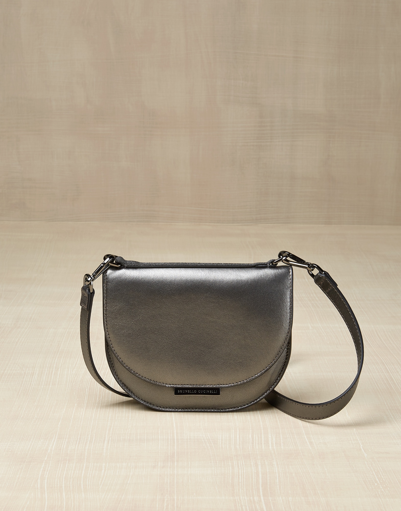 Shoulder Bag Dark Grey Girl 0 - Brunello Cucinelli