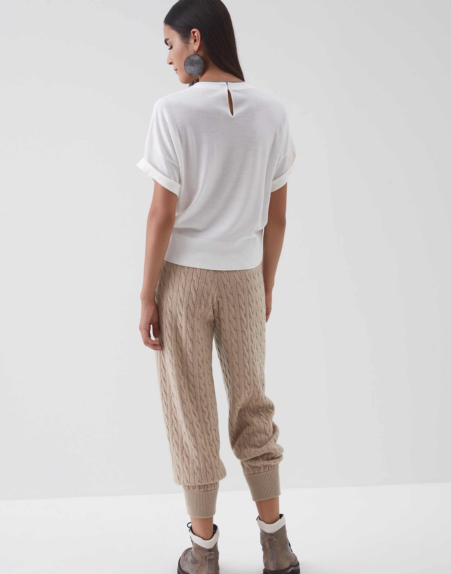 Crewneck Sweater White Woman 2 - Brunello Cucinelli