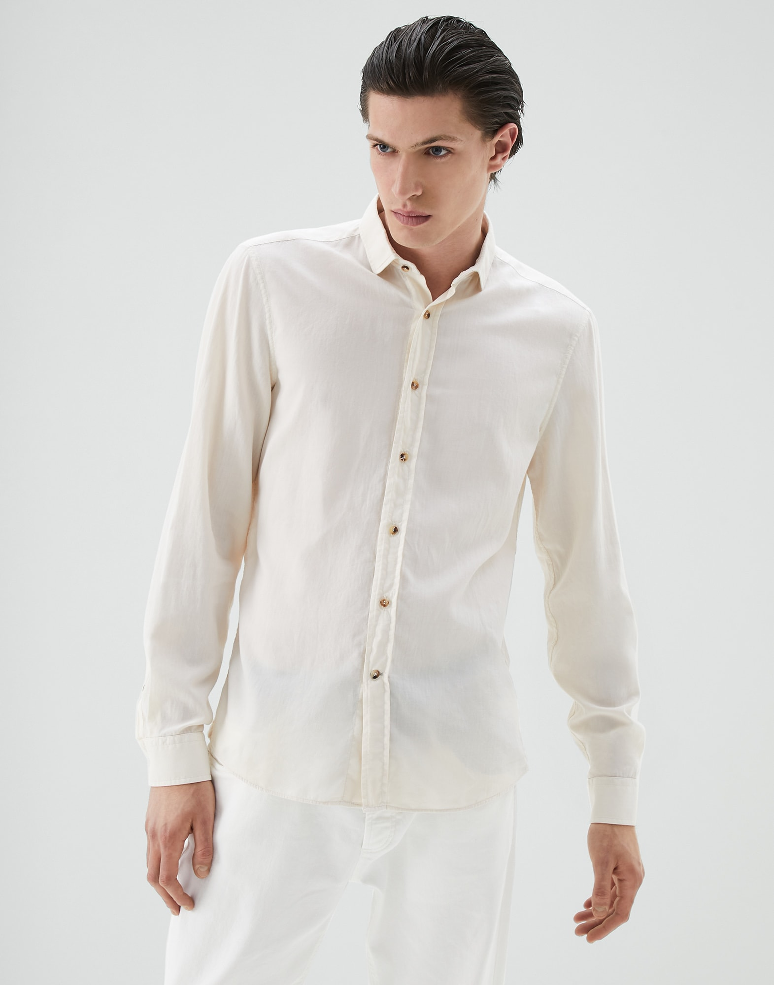French Collar Shirt Off-White Man 1 - Brunello Cucinelli