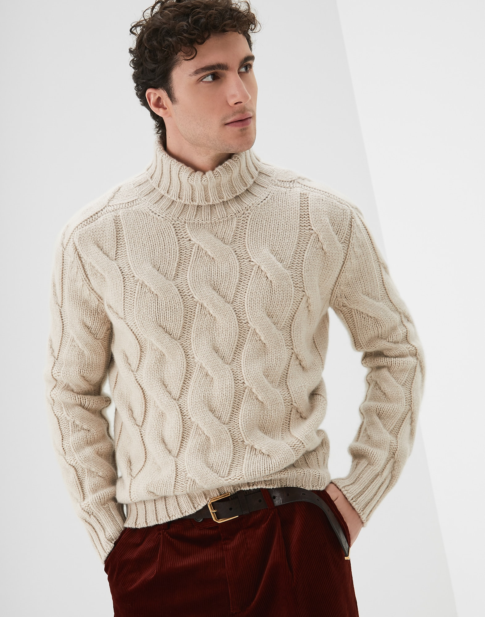 High Neck Sweater Sand Man 0 - Brunello Cucinelli