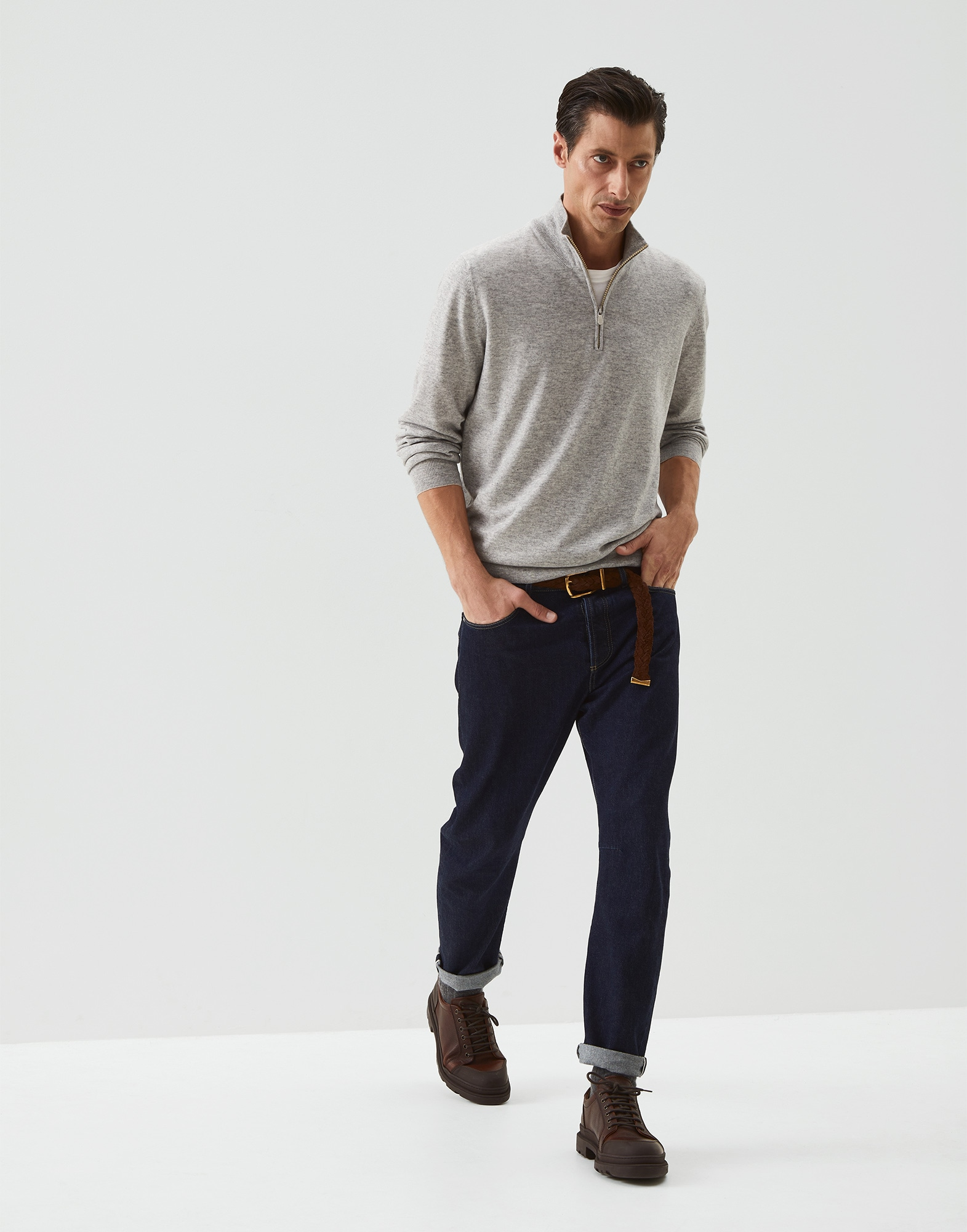 High Neck Sweater Pebble Man 4 - Brunello Cucinelli