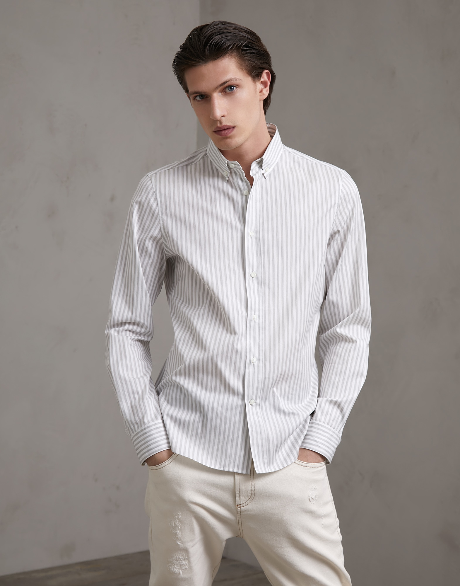 Button-Down-Hemd Hellgrau Herren 1 - Brunello Cucinelli