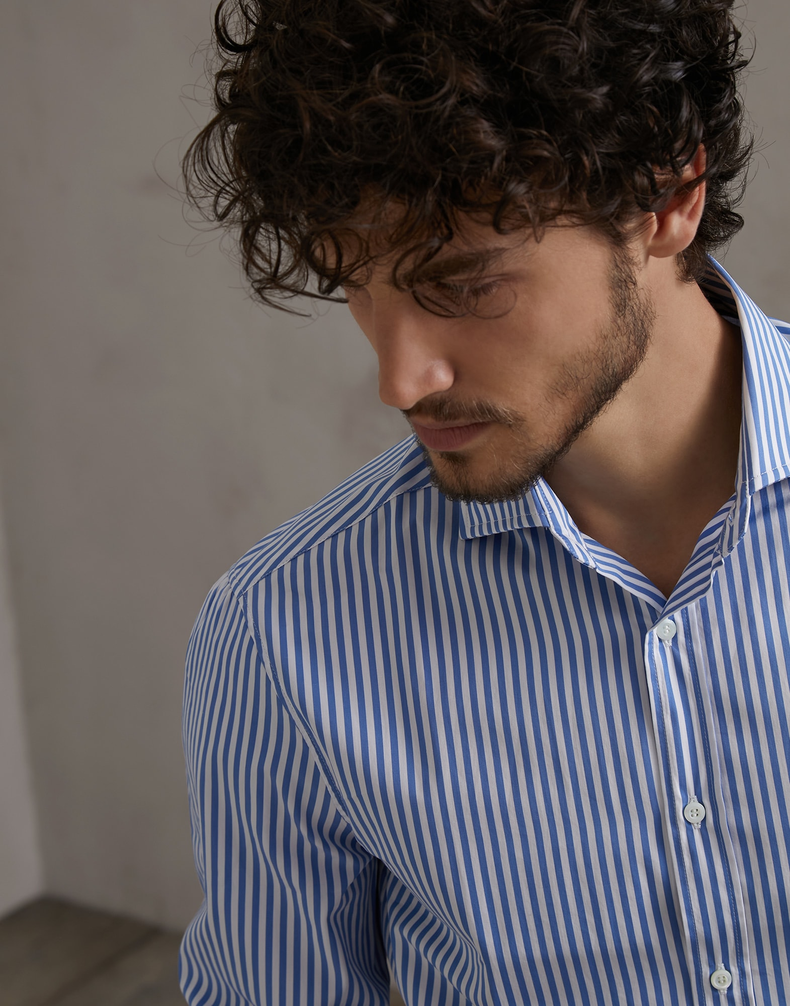 French Collar Shirt Sky Blue Man 3 - Brunello Cucinelli