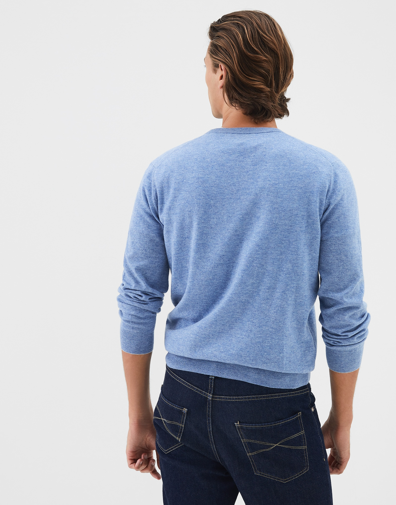 Crewneck Sweater Azure Man 1 - Brunello Cucinelli
