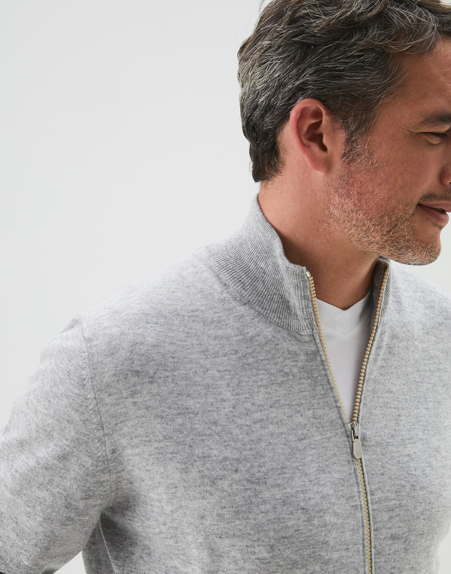 Zip-front Cardigan Pebble Man 0 - Brunello Cucinelli