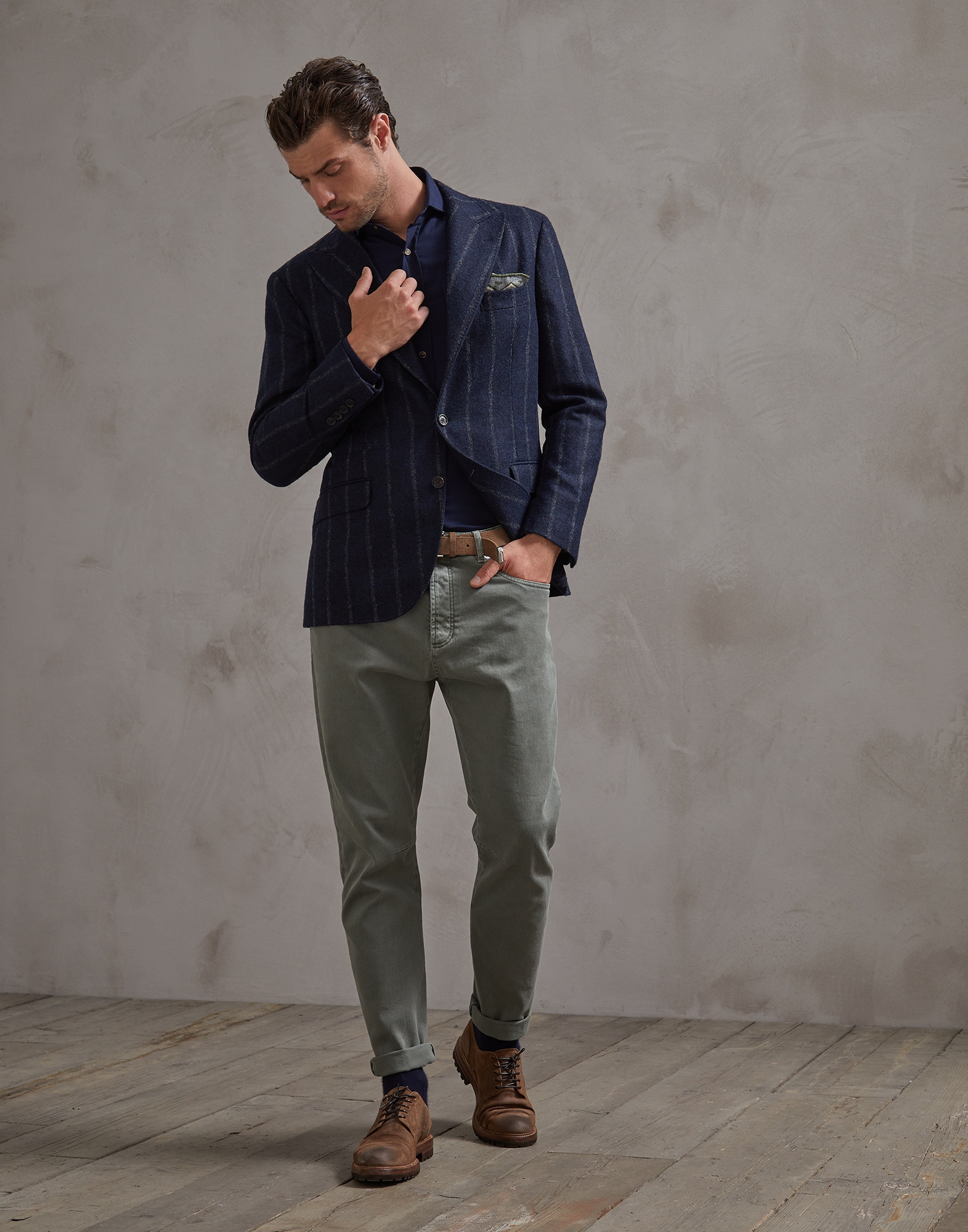 Denim Trousers Khaki Man 3 - Brunello Cucinelli