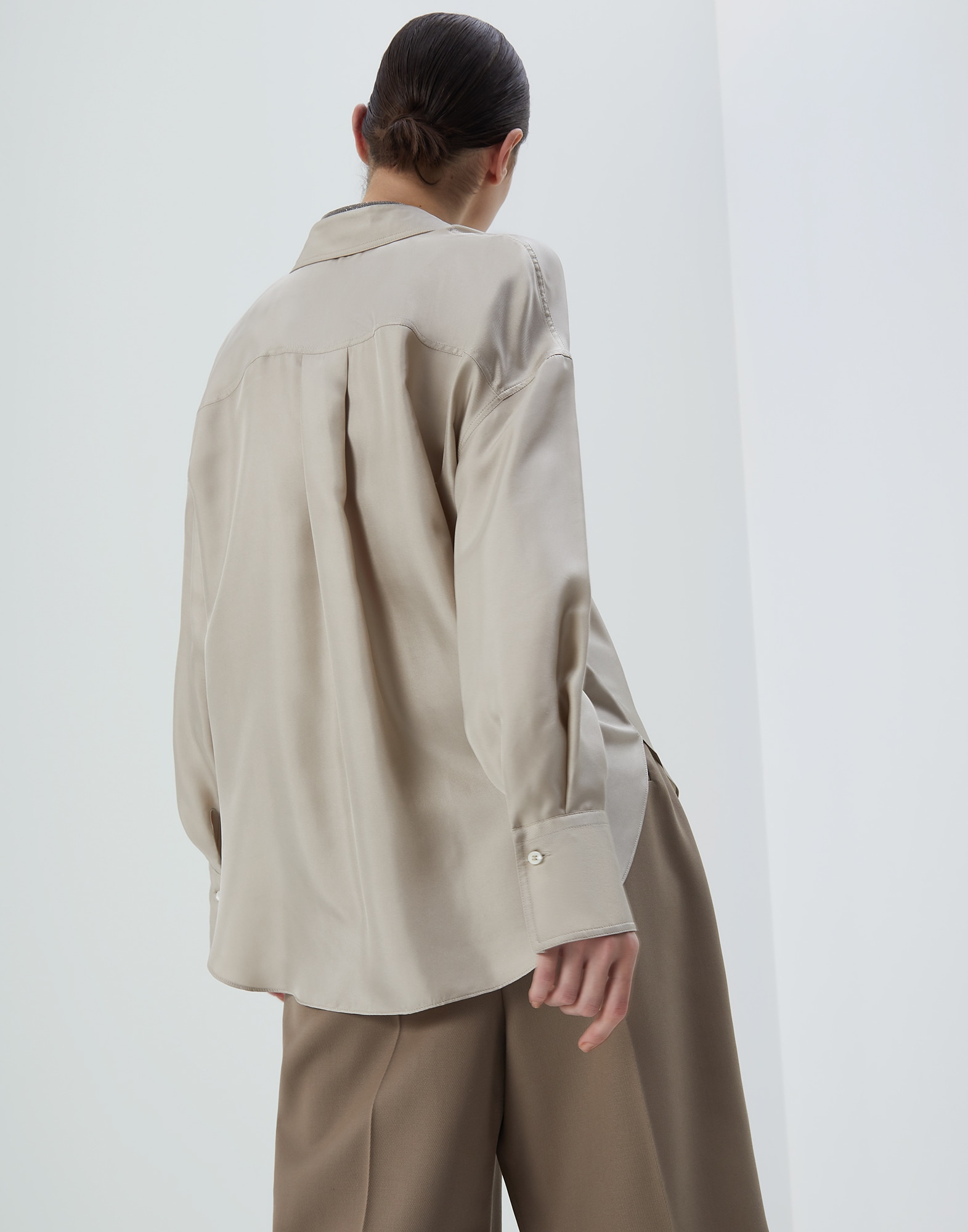 Silk Shirt Cool Beige Woman 2 - Brunello Cucinelli