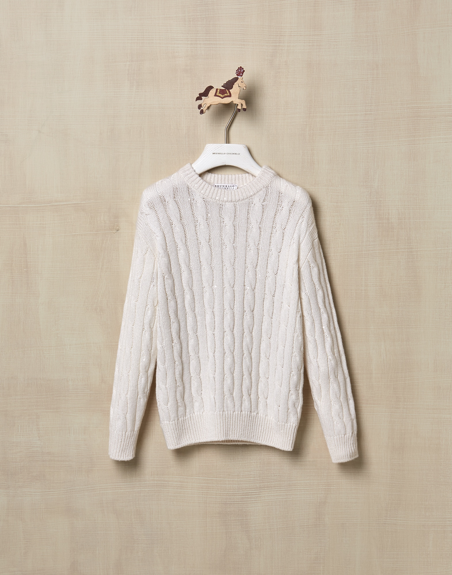 Crewneck Sweater White Girl 1 - Brunello Cucinelli
