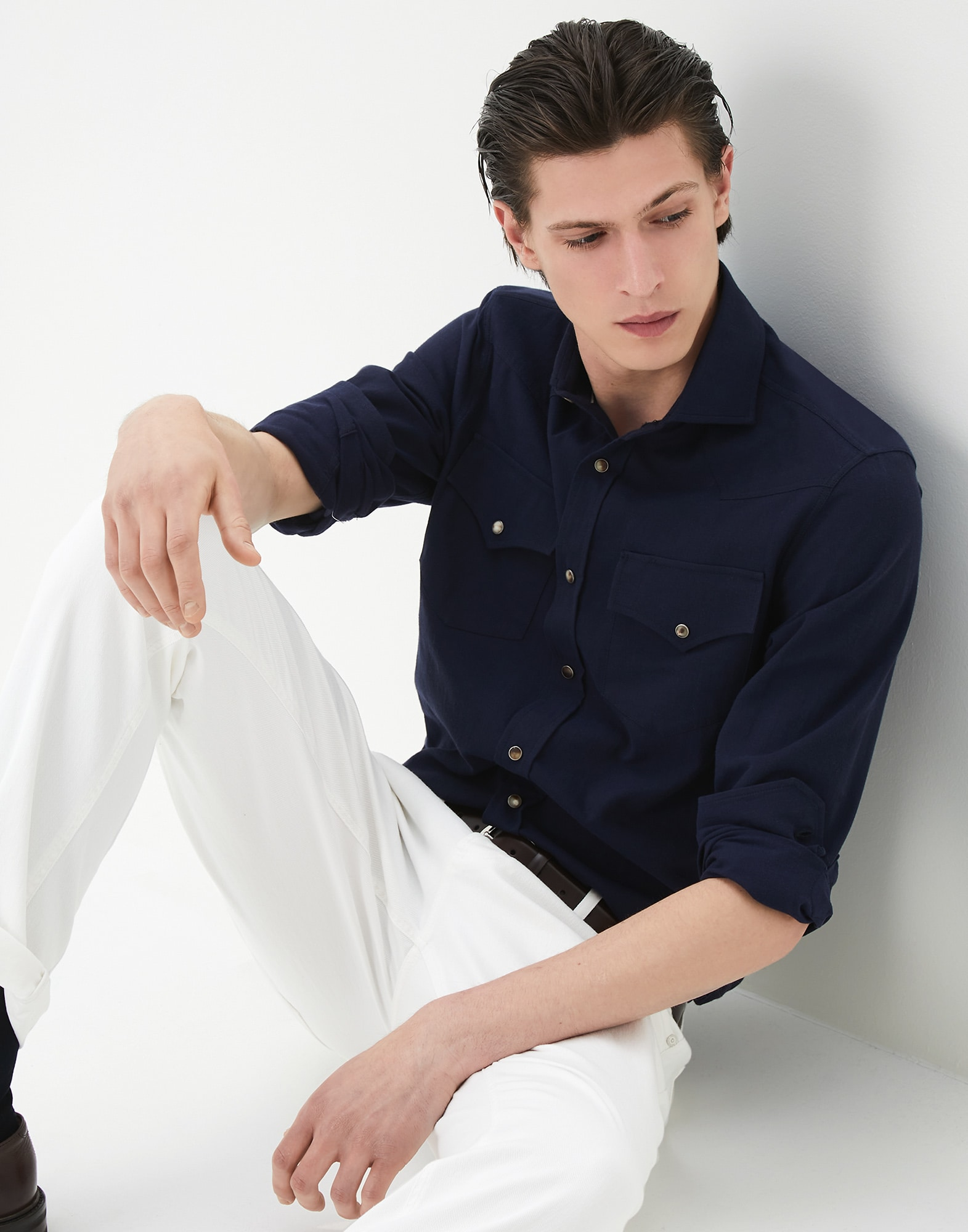 Casual Shirt Blue Man 0 - Brunello Cucinelli