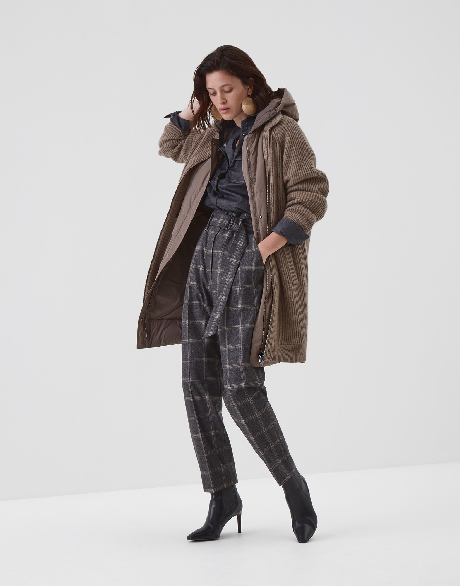 Knit Outerwear Brown Woman 3 - Brunello Cucinelli