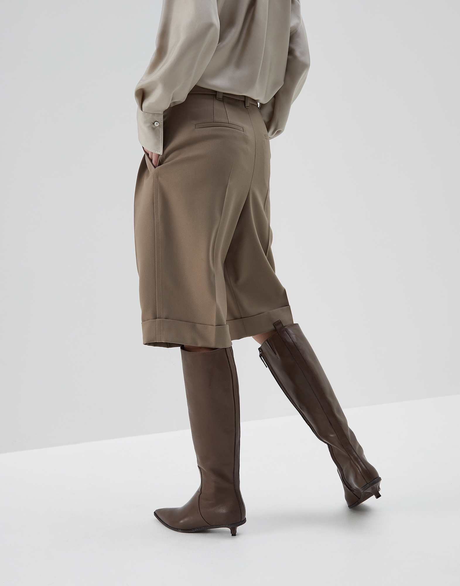 Bermuda Shorts Brown Woman 1 - Brunello Cucinelli