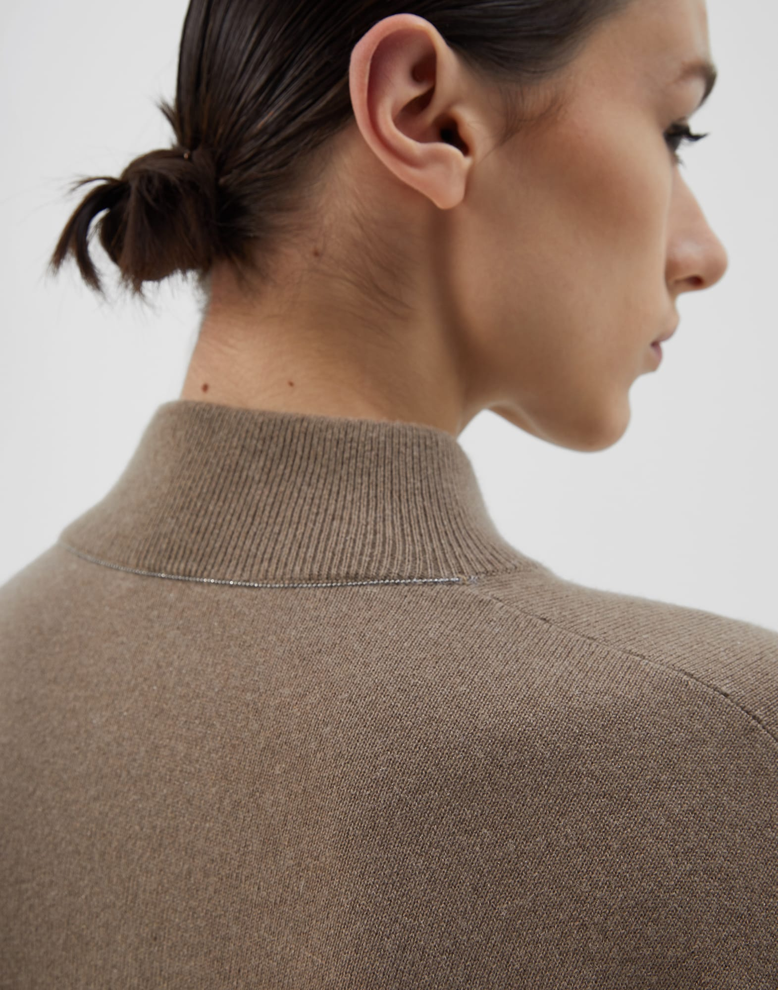 High Neck Sweater Brown Woman 2 - Brunello Cucinelli