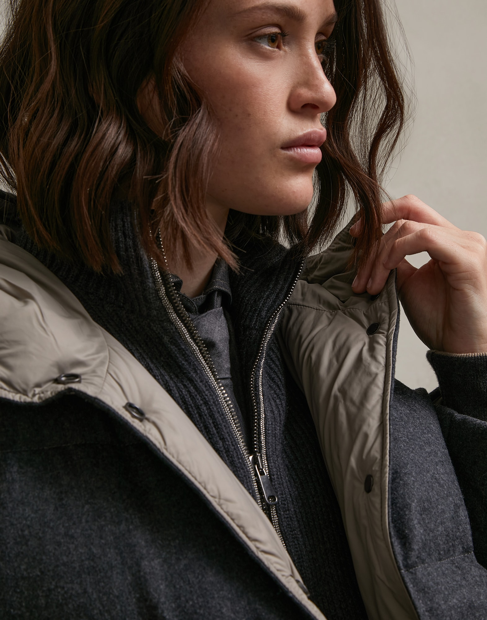 Down Jacket Dark Grey Woman 3 - Brunello Cucinelli