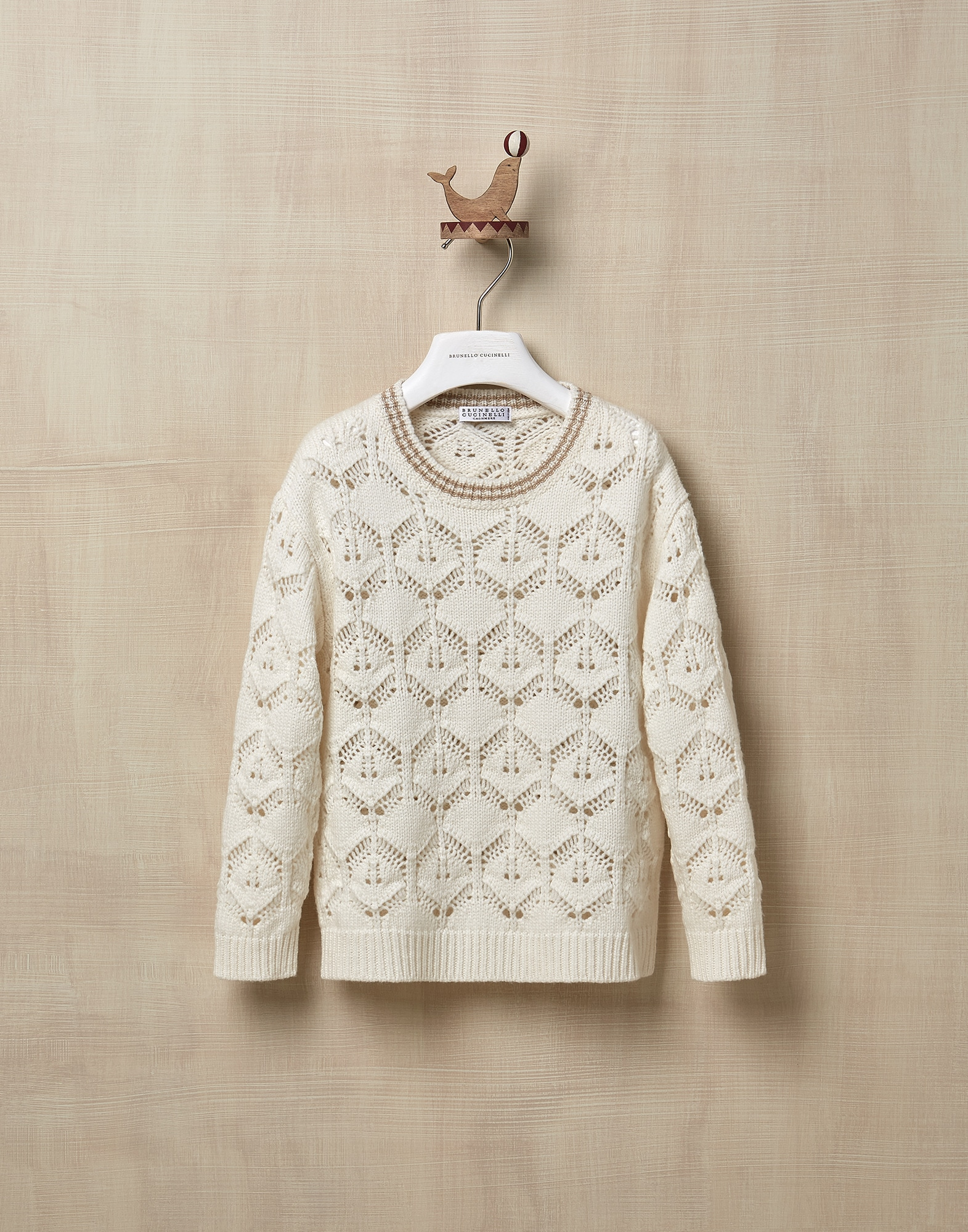 Crewneck Sweater Ecru Girl 0 - Brunello Cucinelli