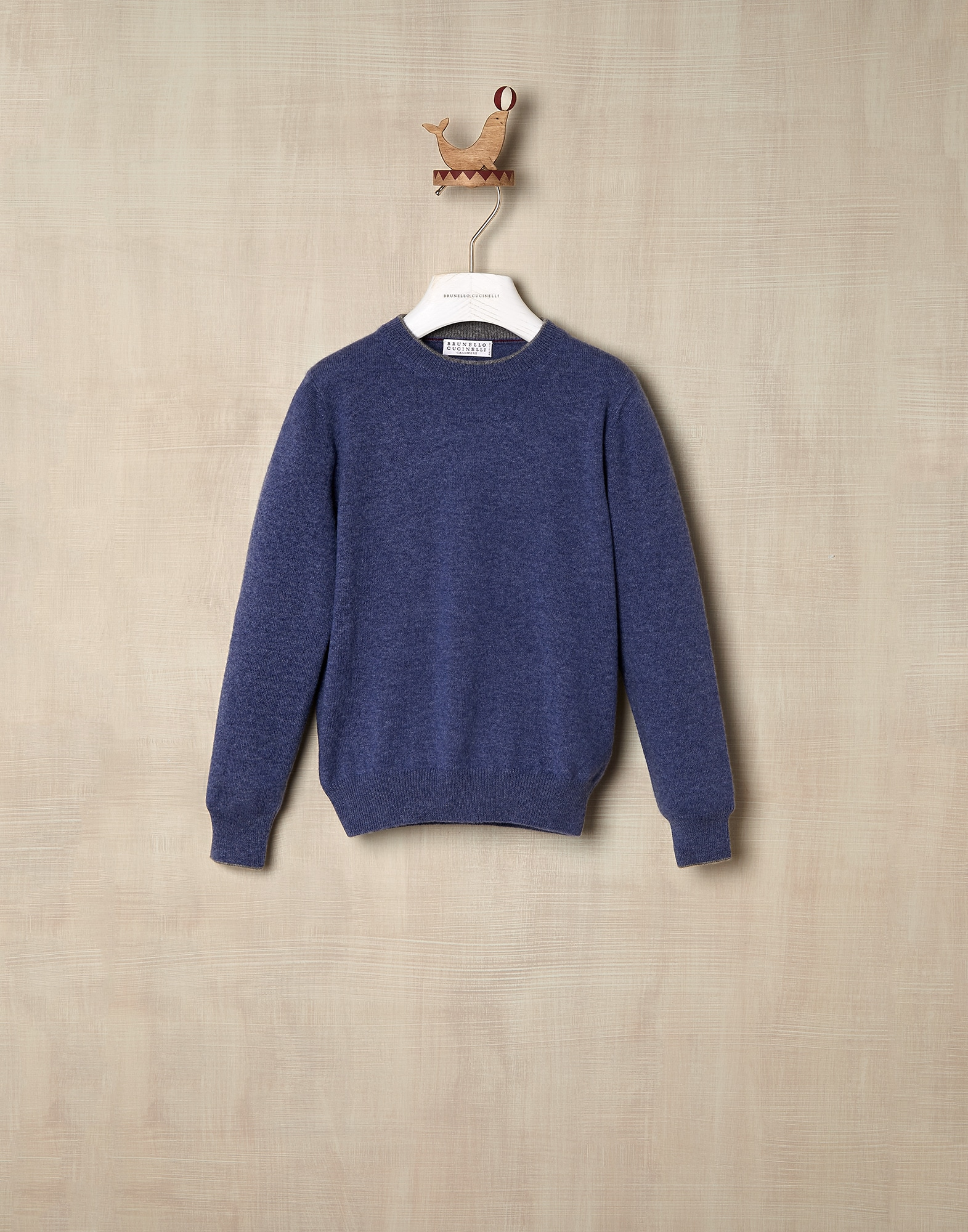 Crewneck Sweater Denim Boy 0 - Brunello Cucinelli