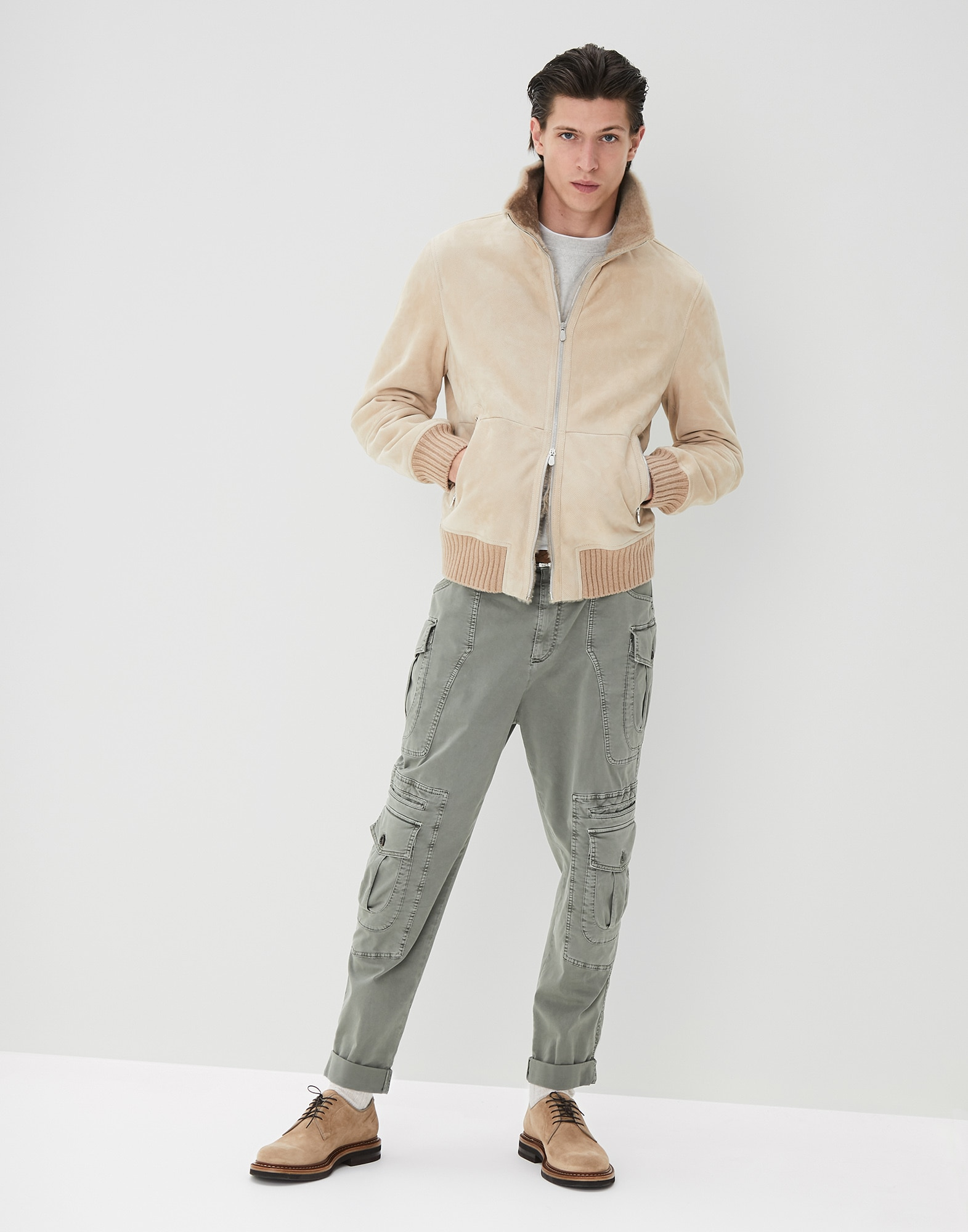Crewneck Sweater Fog Man 3 - Brunello Cucinelli