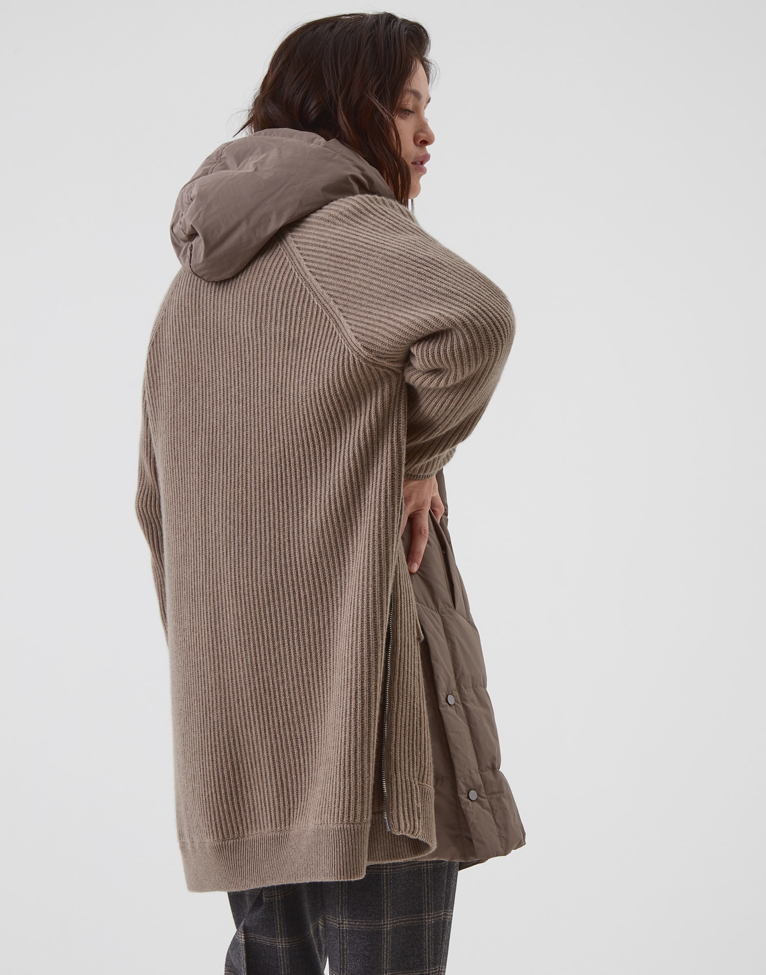Knit Outerwear Brown Woman 1 - Brunello Cucinelli