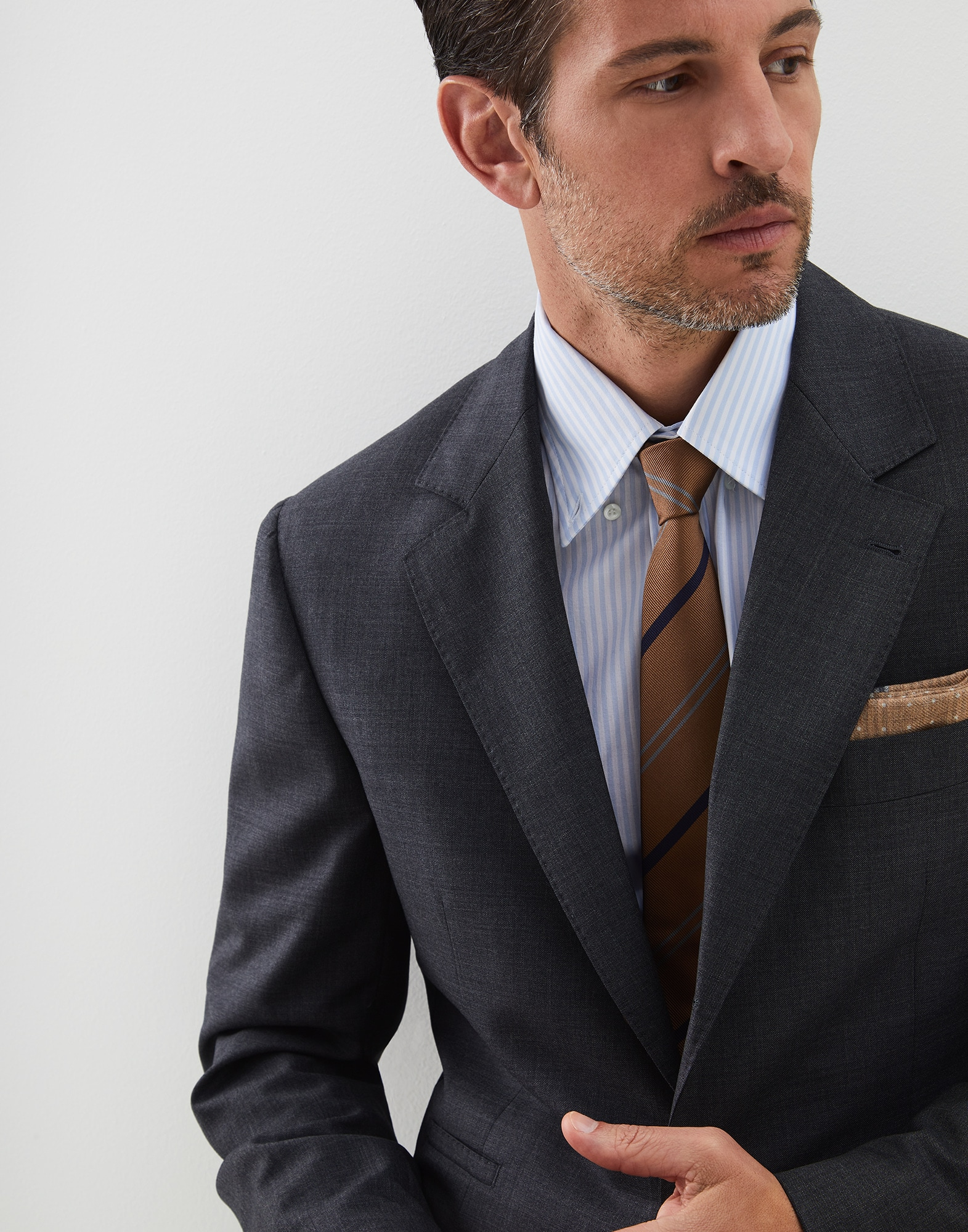 Single Breasted Blazer Dark Grey Man 2 - Brunello Cucinelli