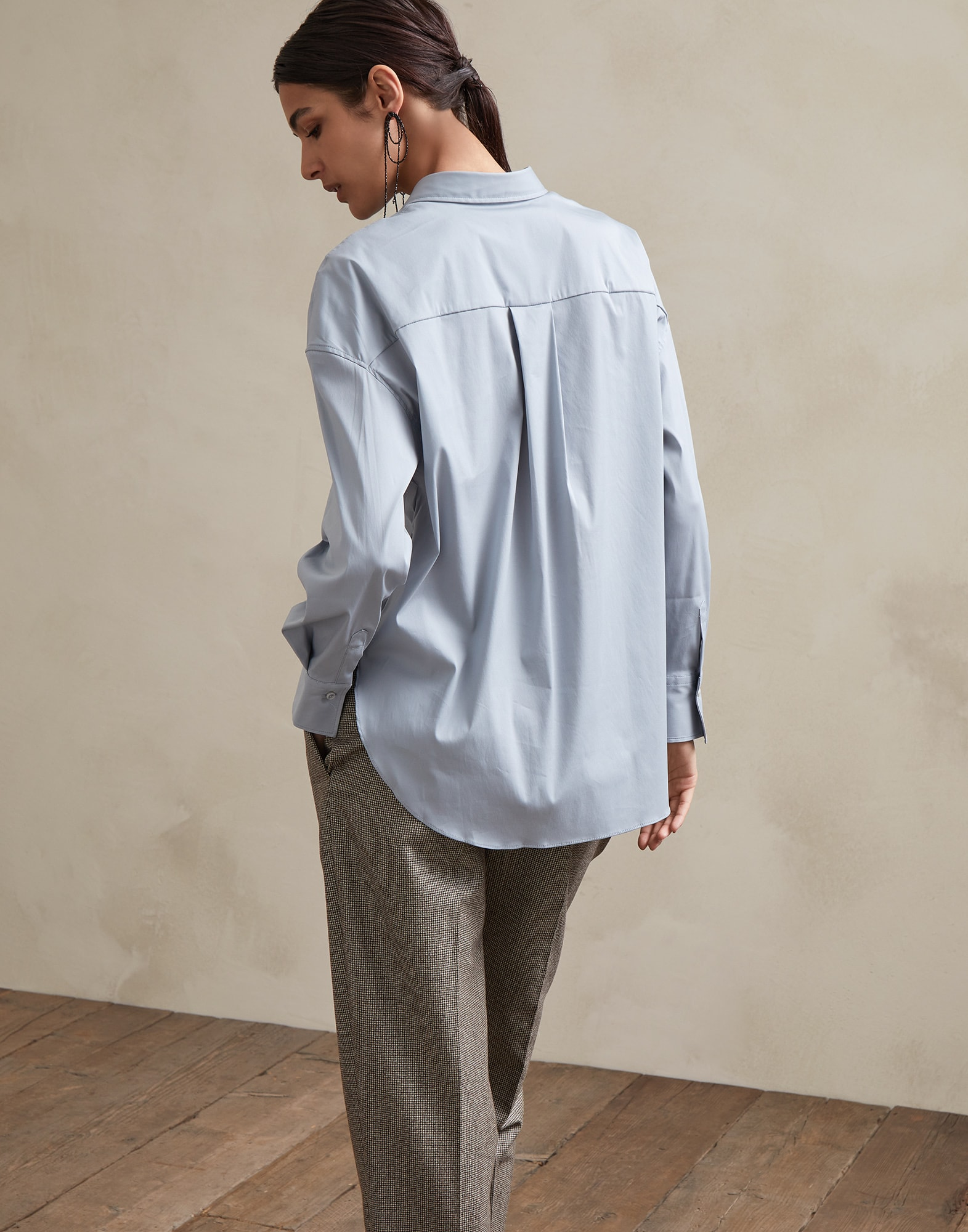 Cotton Shirt Sky Blue Woman 2 - Brunello Cucinelli