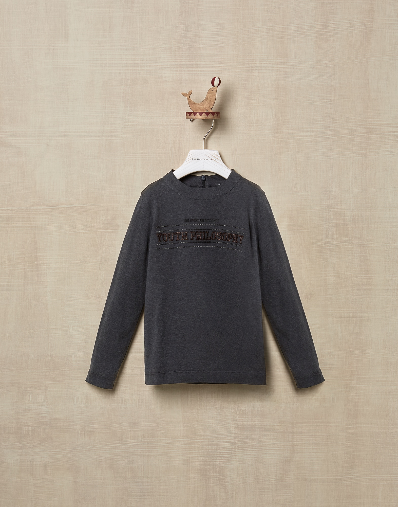 T-Shirt Anthracite Girl 1 - Brunello Cucinelli