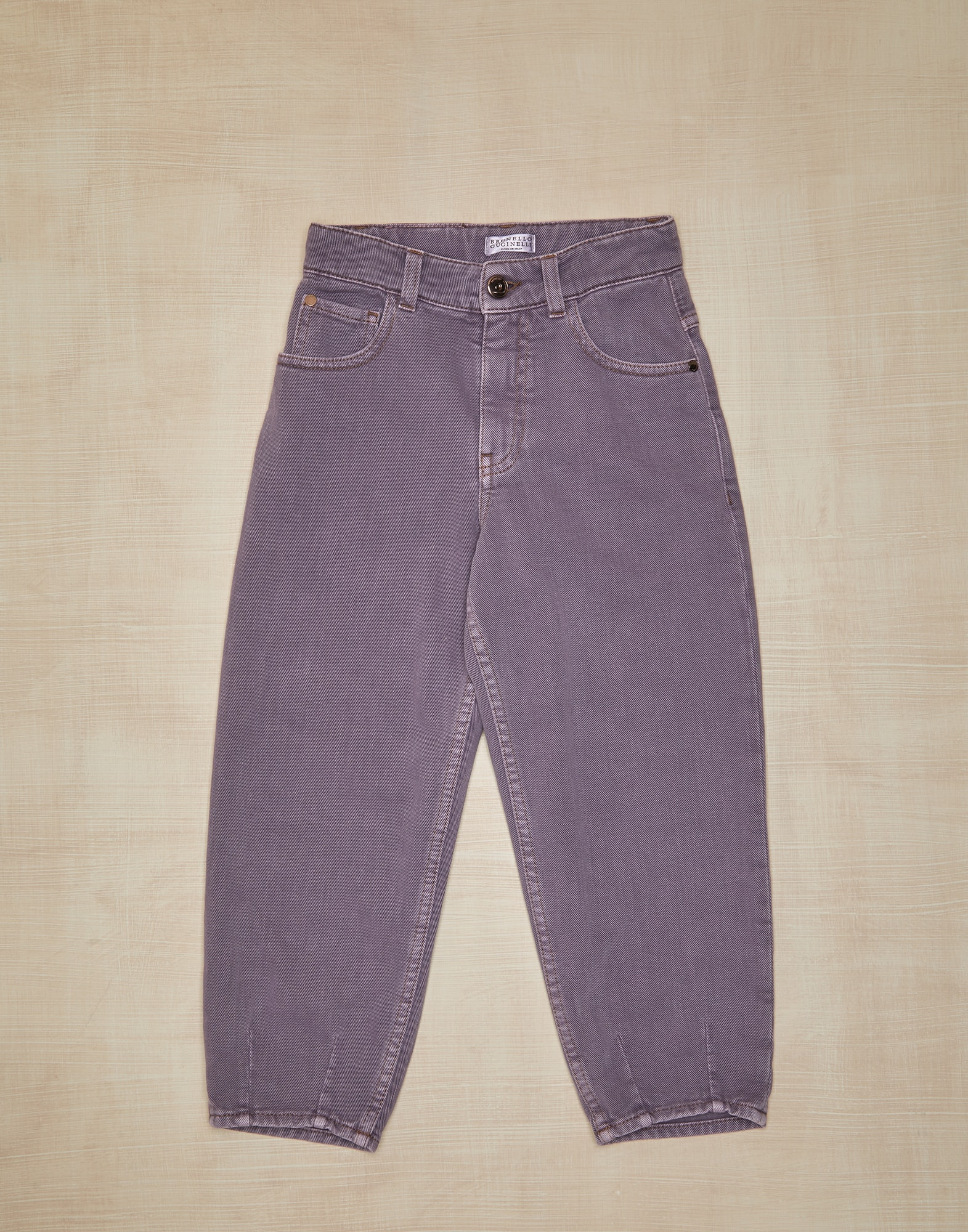 Denim Trousers Mauve Girl 0 - Brunello Cucinelli
