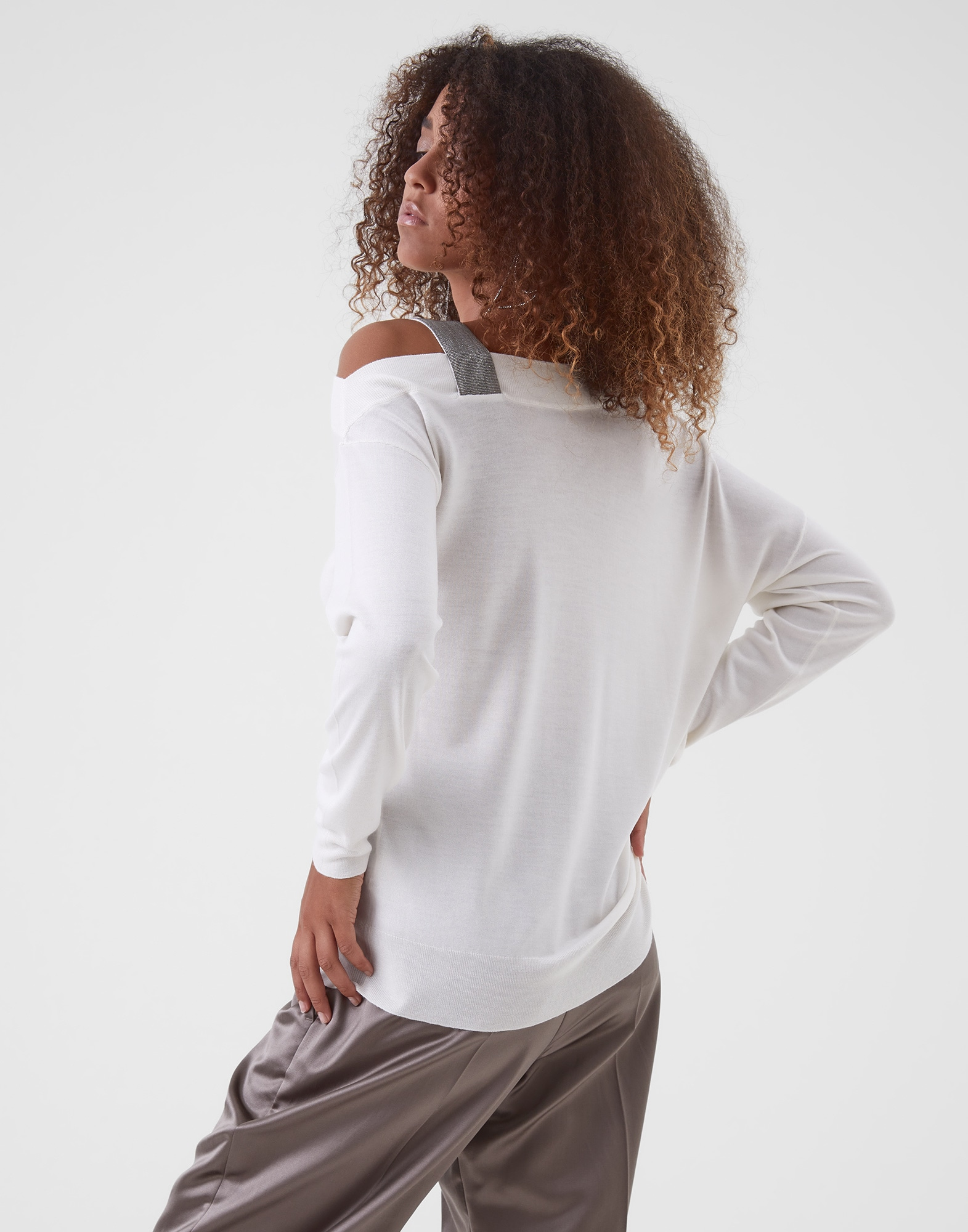 Scoop Neck White Woman 2 - Brunello Cucinelli