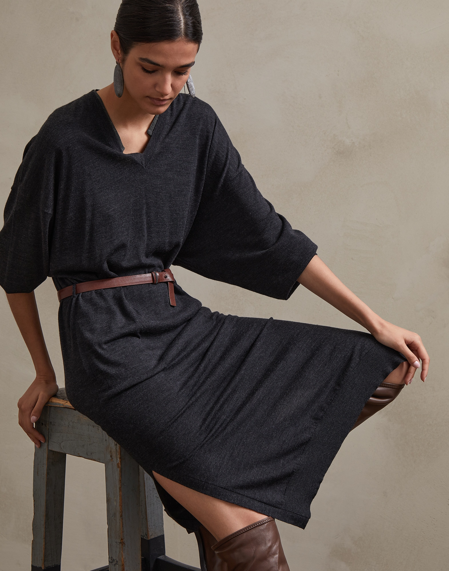 Dress Anthracite Woman 0 - Brunello Cucinelli