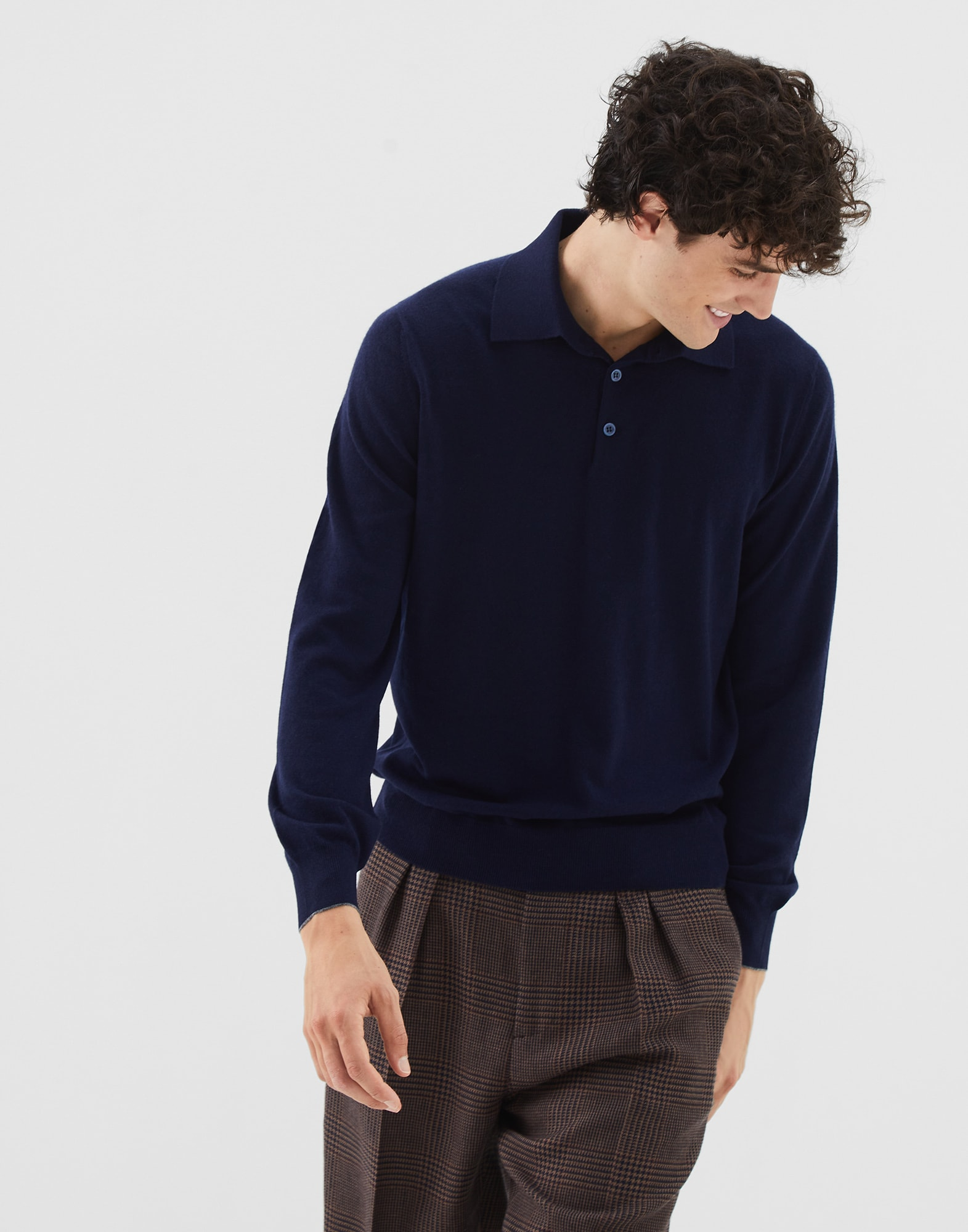 Pull Style Polo Bleu Marine Homme 0 - Brunello Cucinelli