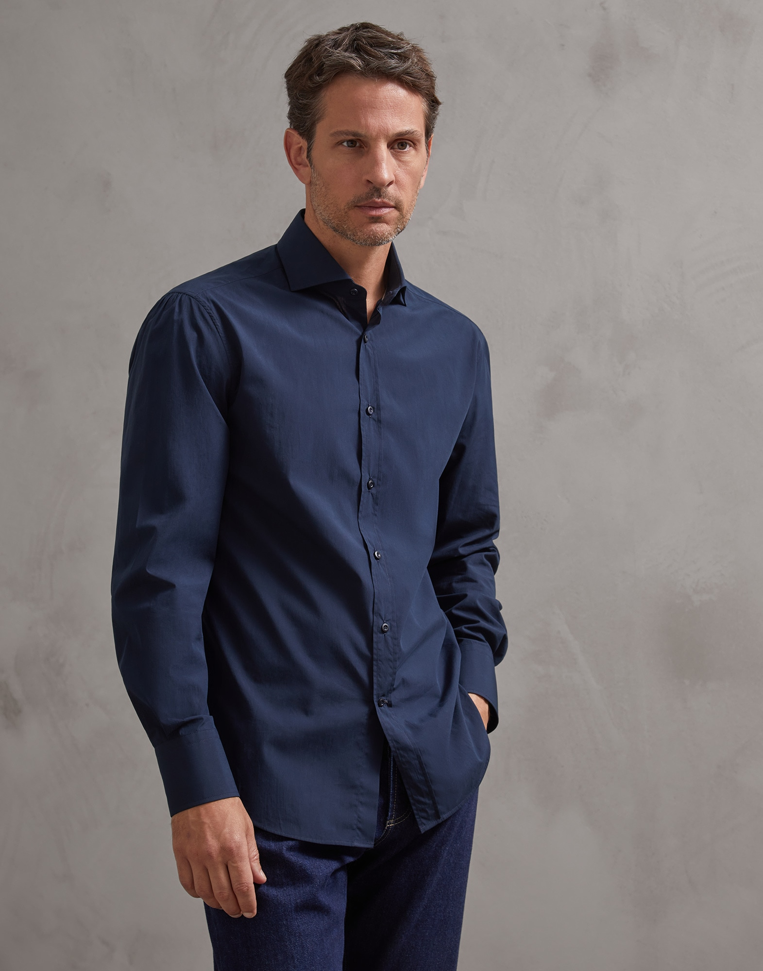 French Collar Shirt Navy Blue Man 1 - Brunello Cucinelli