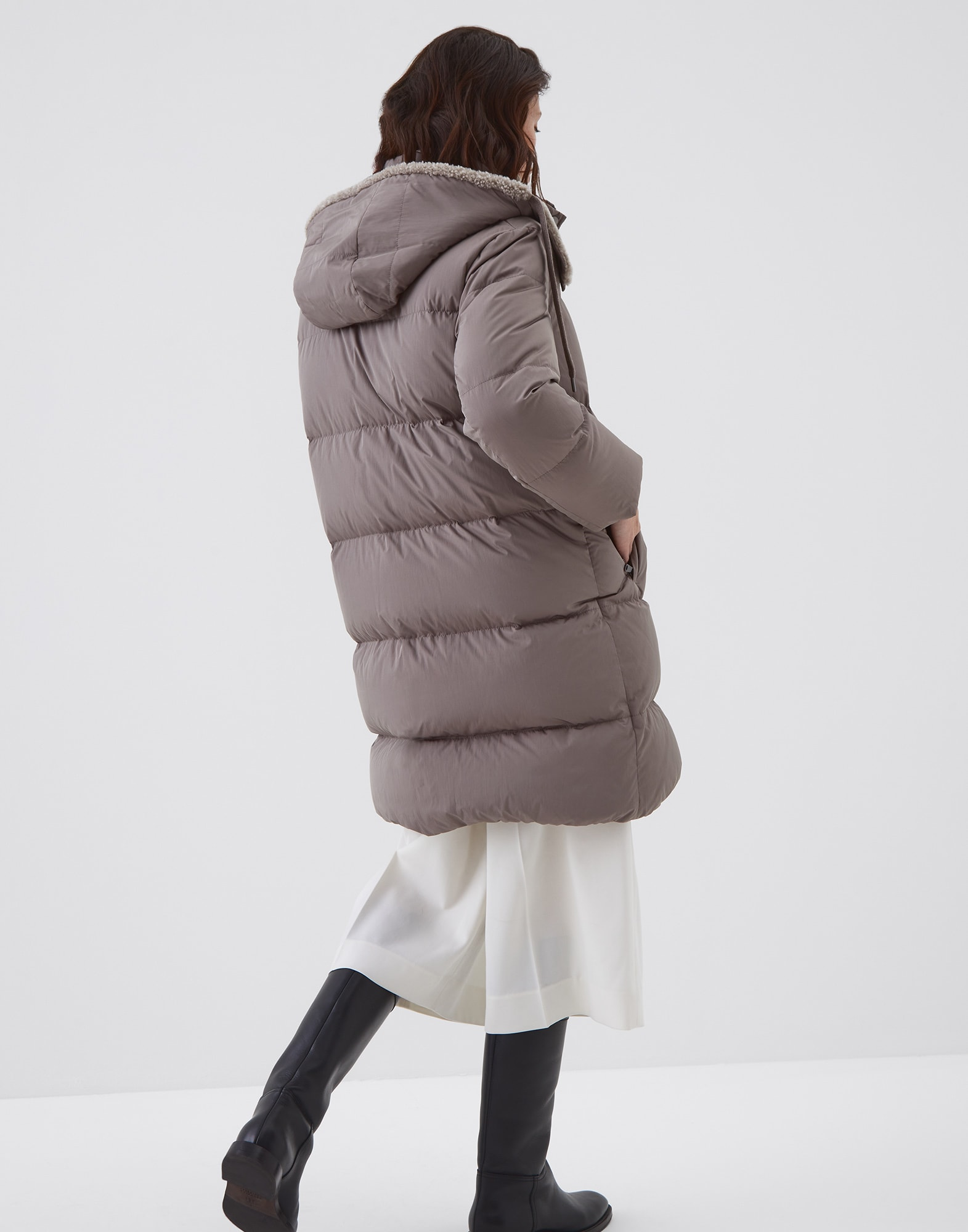 Down Jacket Mud Woman 1 - Brunello Cucinelli