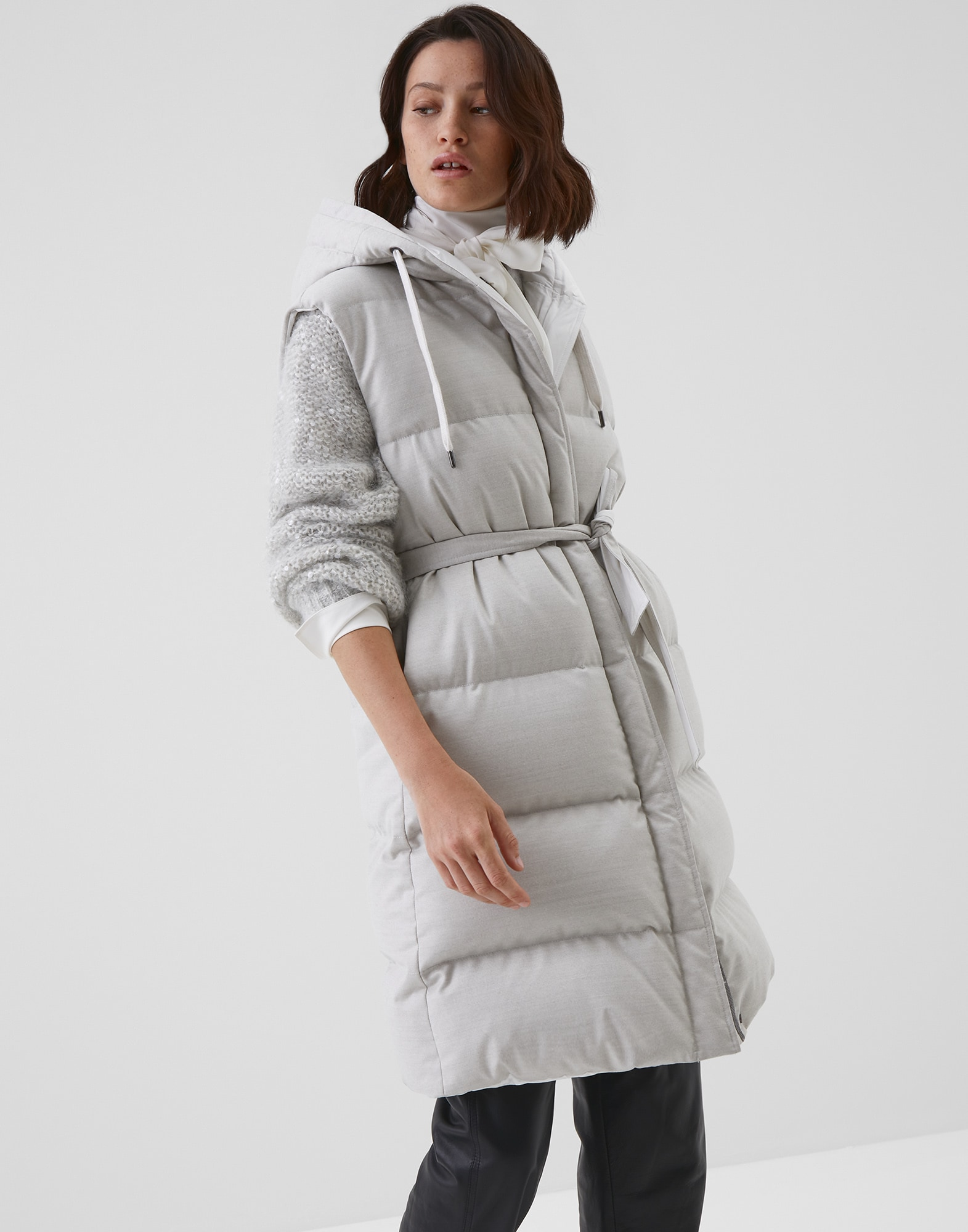 Down Sleeveless Jacket Natural Woman 1 - Brunello Cucinelli