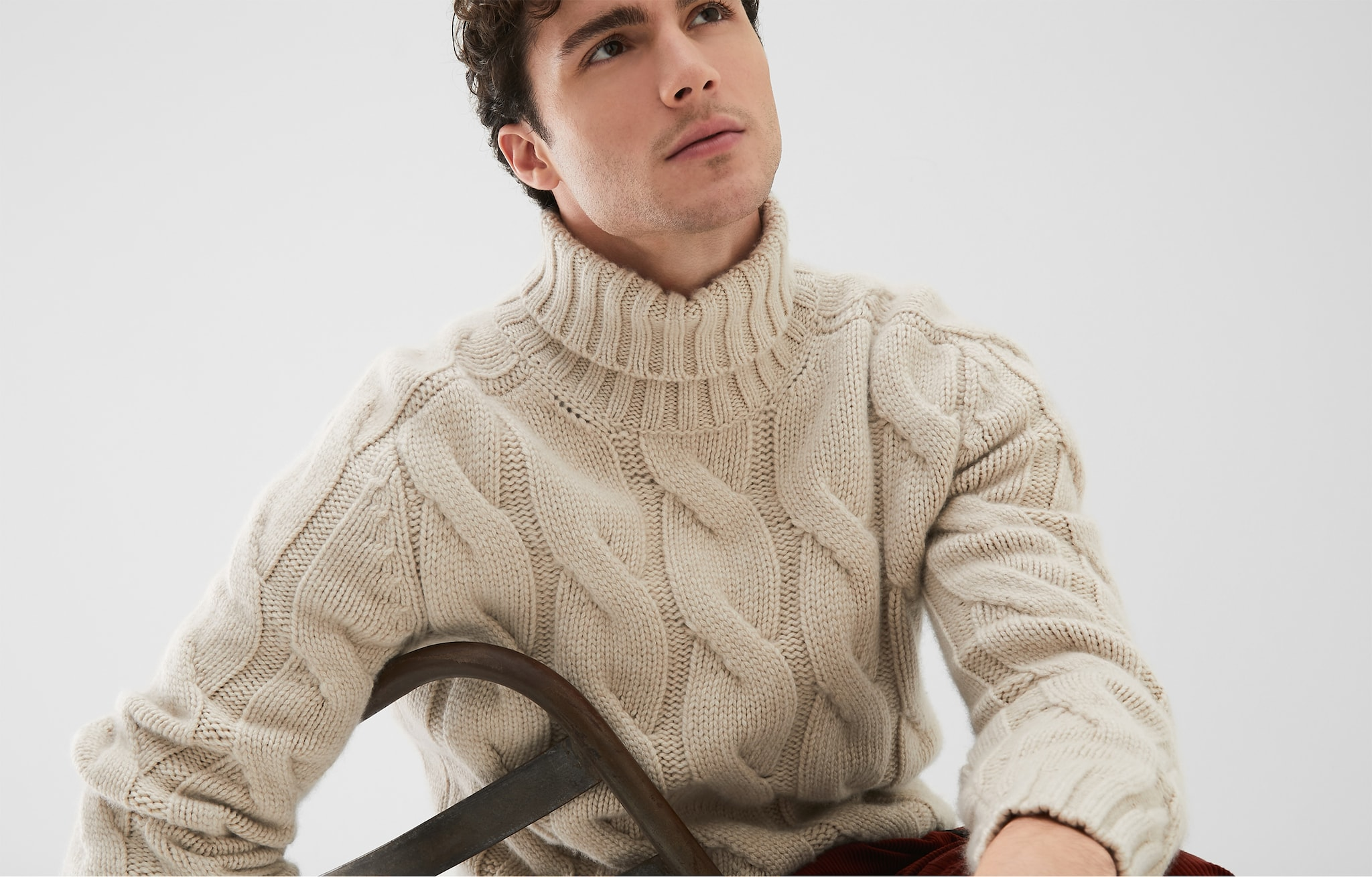 High Neck Sweater Sand Man 5 - Brunello Cucinelli